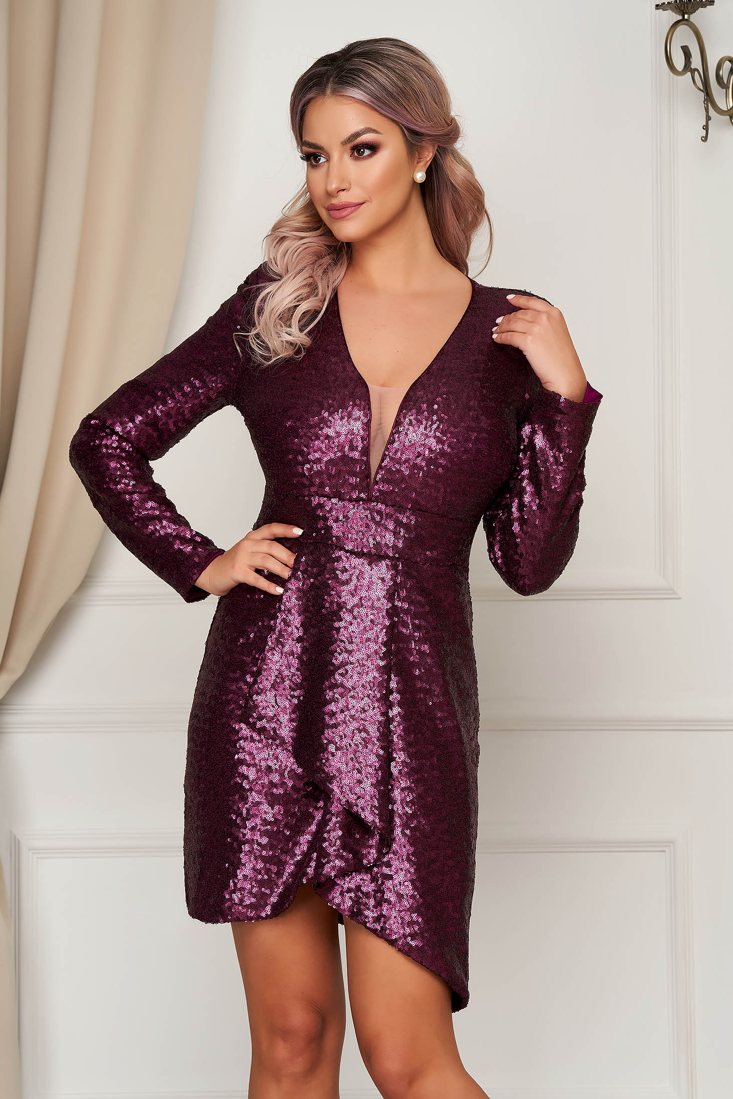 Purple dress with sequins occasional asymmetrical with v-neckline pencil with deep cleavage