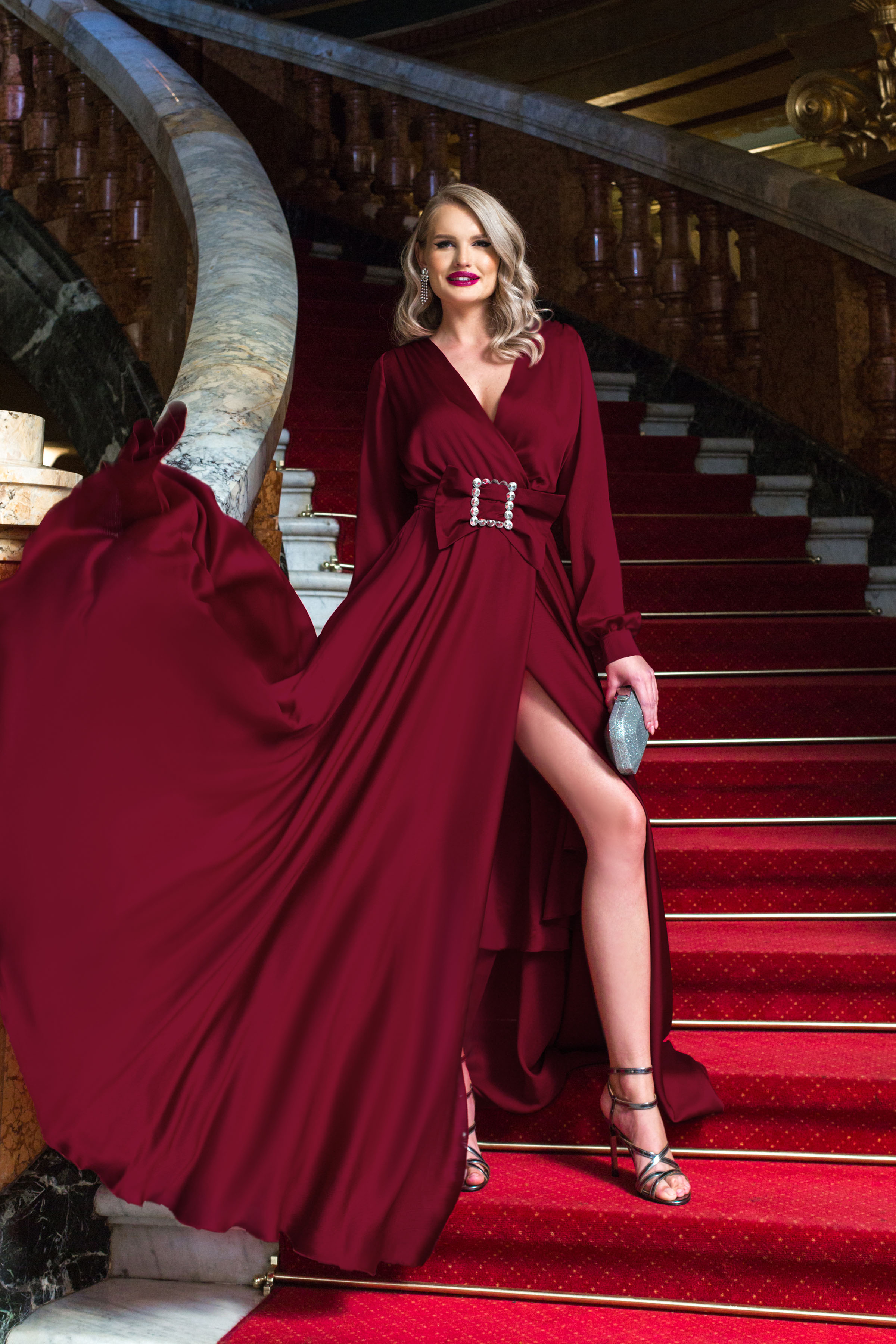 Dress burgundy long occasional cloche wrap over front with v-neckline buckle accessory slit