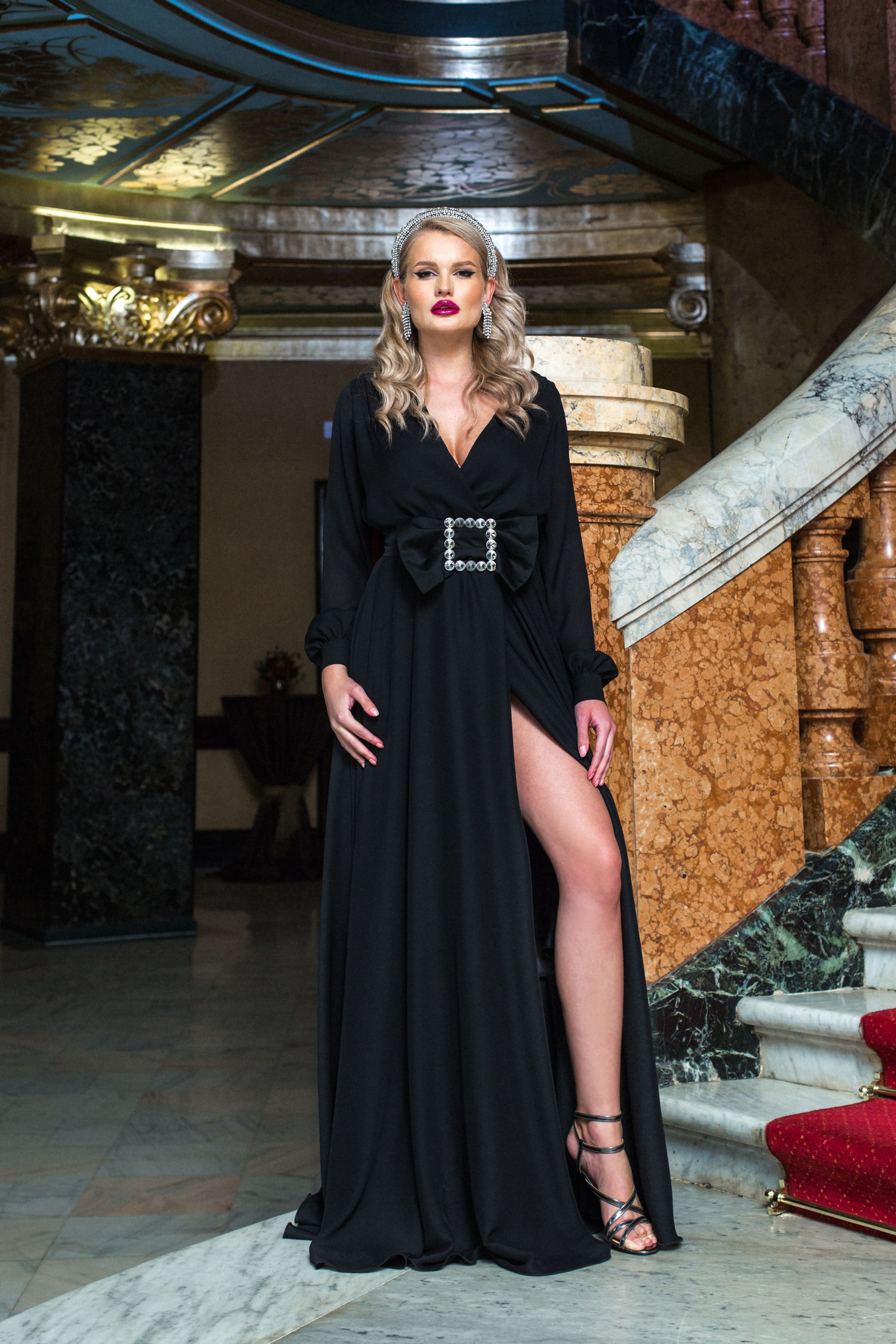 Dress black long occasional cloche wrap over front with v-neckline buckle accessory slit