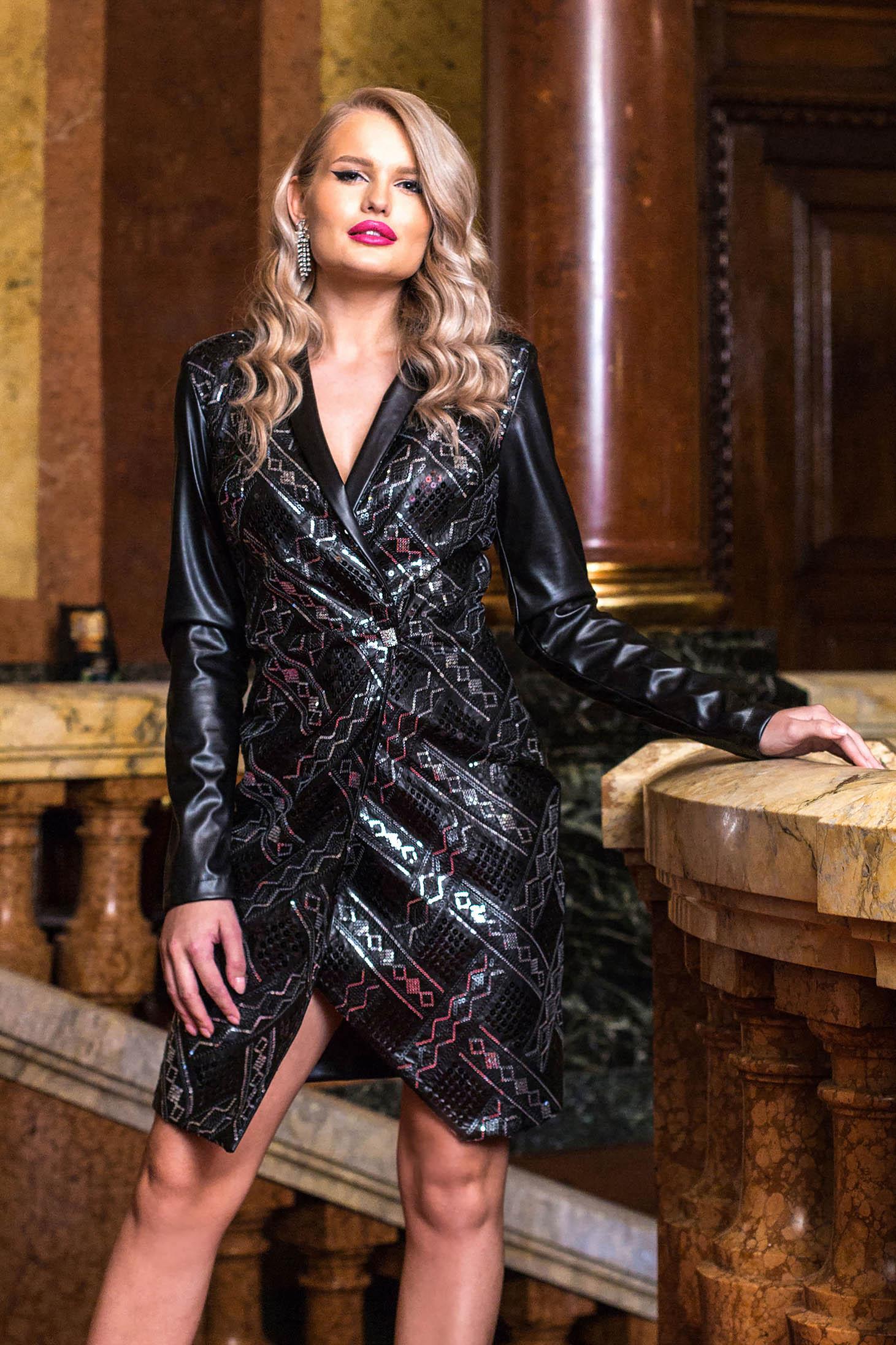 Dress black short cut occasional with v-neckline long sleeved gold metal details