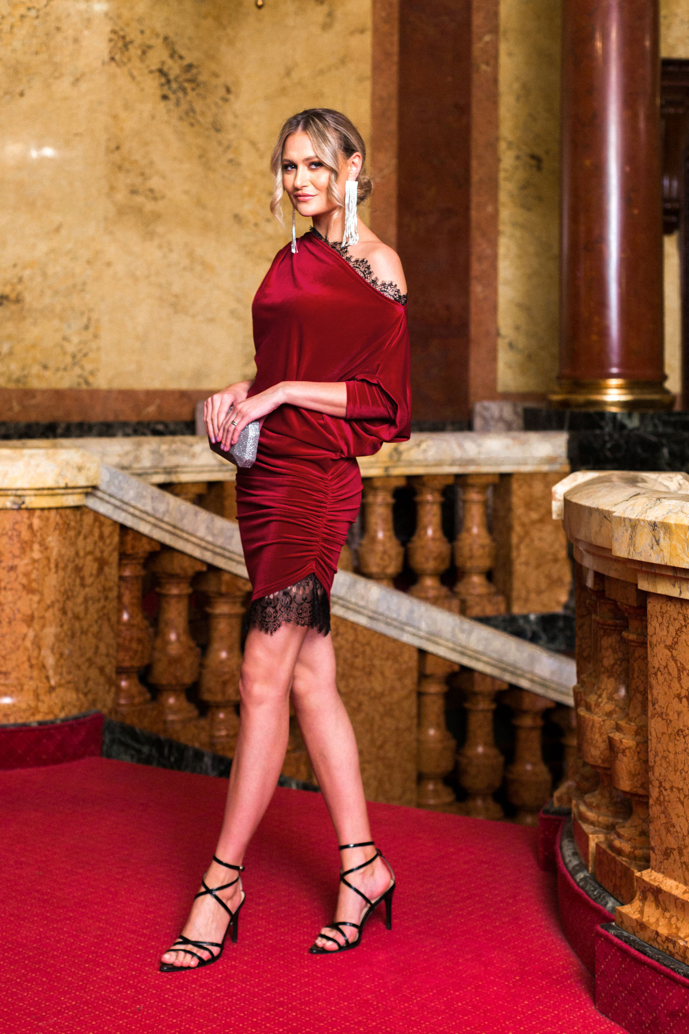 Dress red occasional velvet with lace details pencil asymmetrical 3/4 sleeve laced