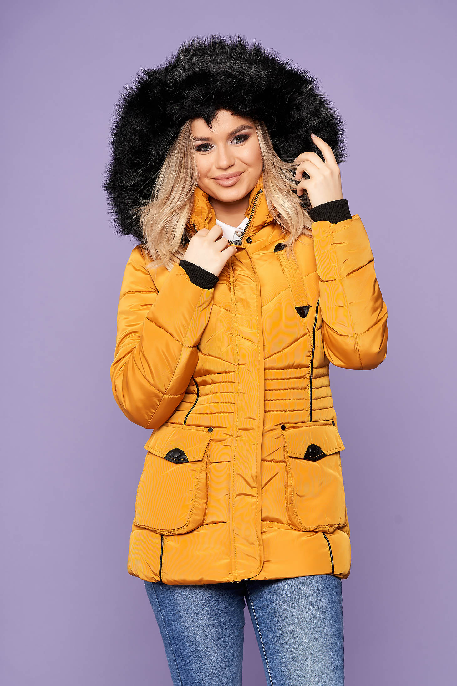 Mustard jacket short cut casual from slicker with pockets with furry hood