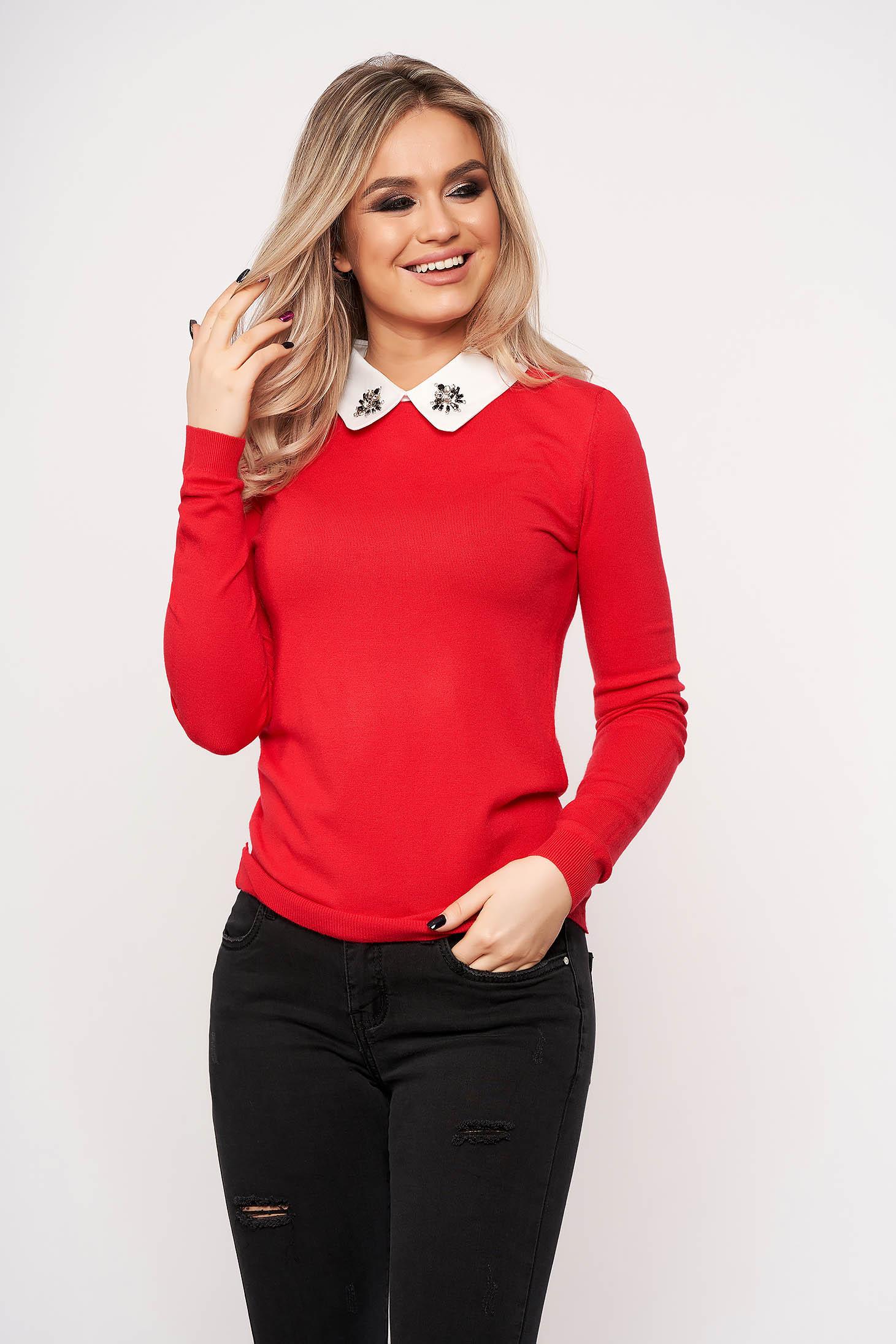 Bluza dama SunShine rosie eleganta scurta din tricot cu guler cu aplicatii din pietre strass