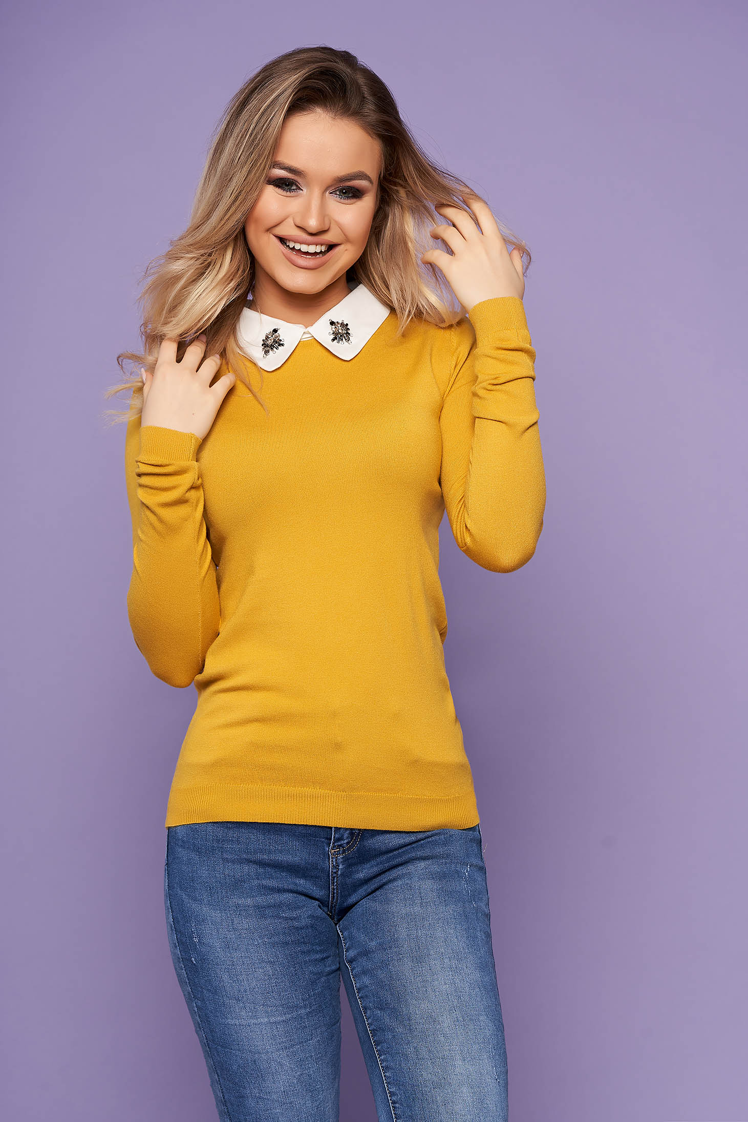 Mustard women`s blouse elegant short cut with collar knitted with crystal embellished details