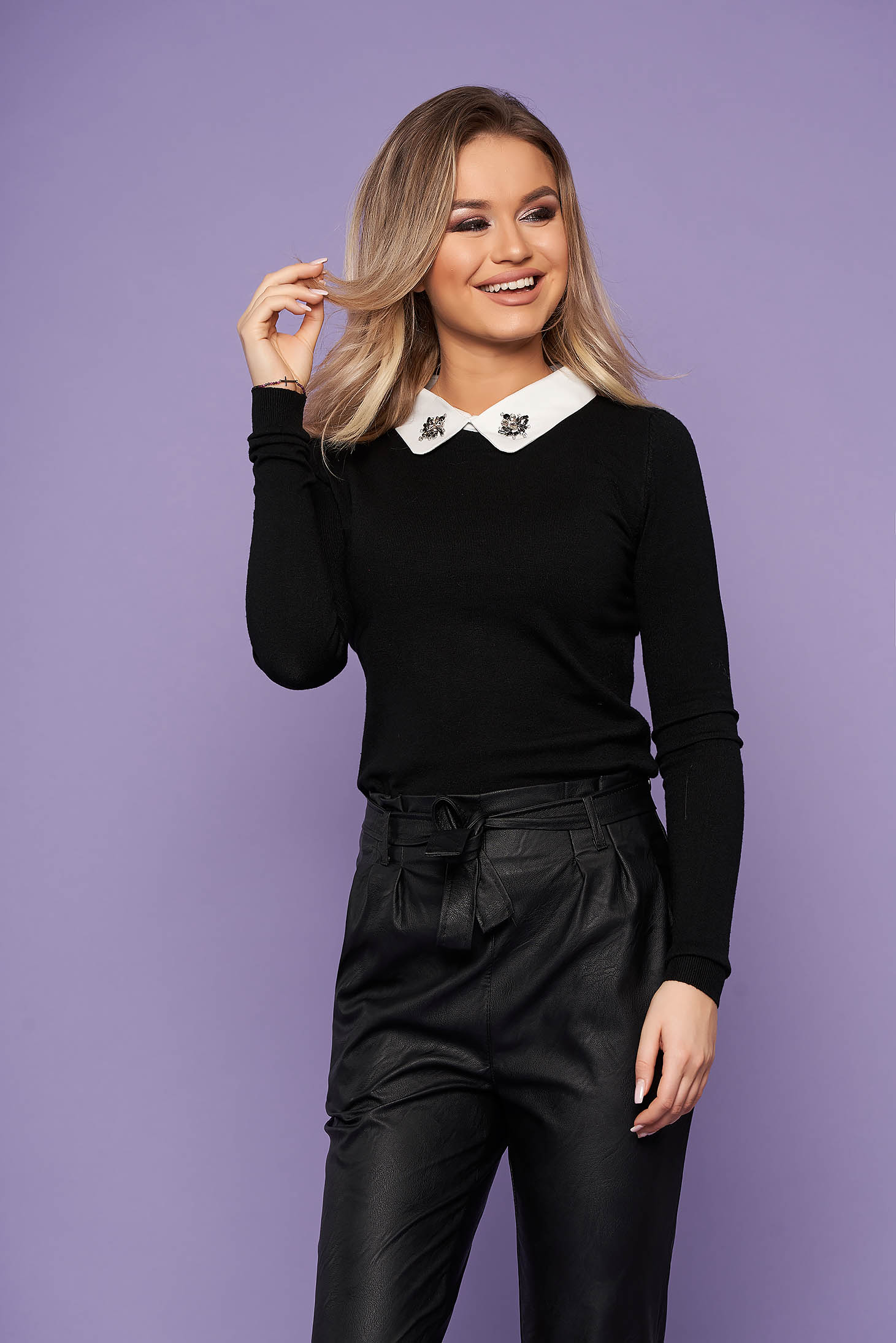 Black women`s blouse elegant short cut with collar knitted with crystal embellished details