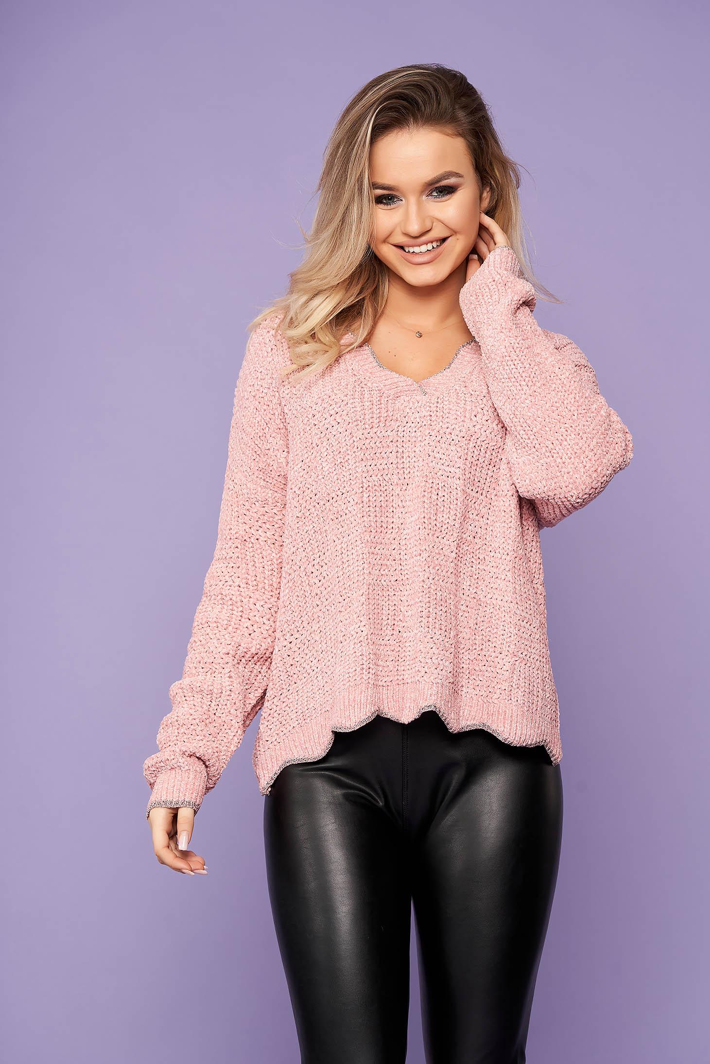 Pulover SunShine roz scurt casual din tricot cu croi larg si decolteu in v