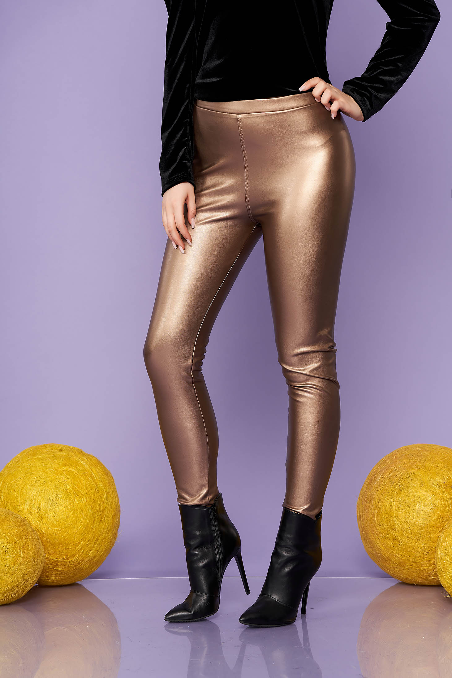 Brown tights clubbing from elastic fabric faux leather elastic waist from shiny fabric