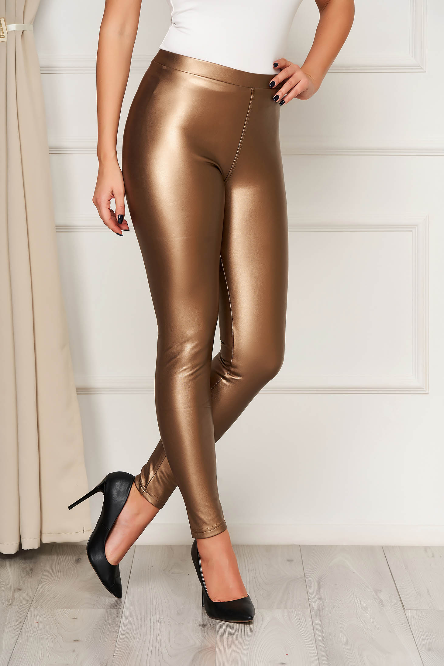 Brown tights from ecological leather elastic waist high waisted