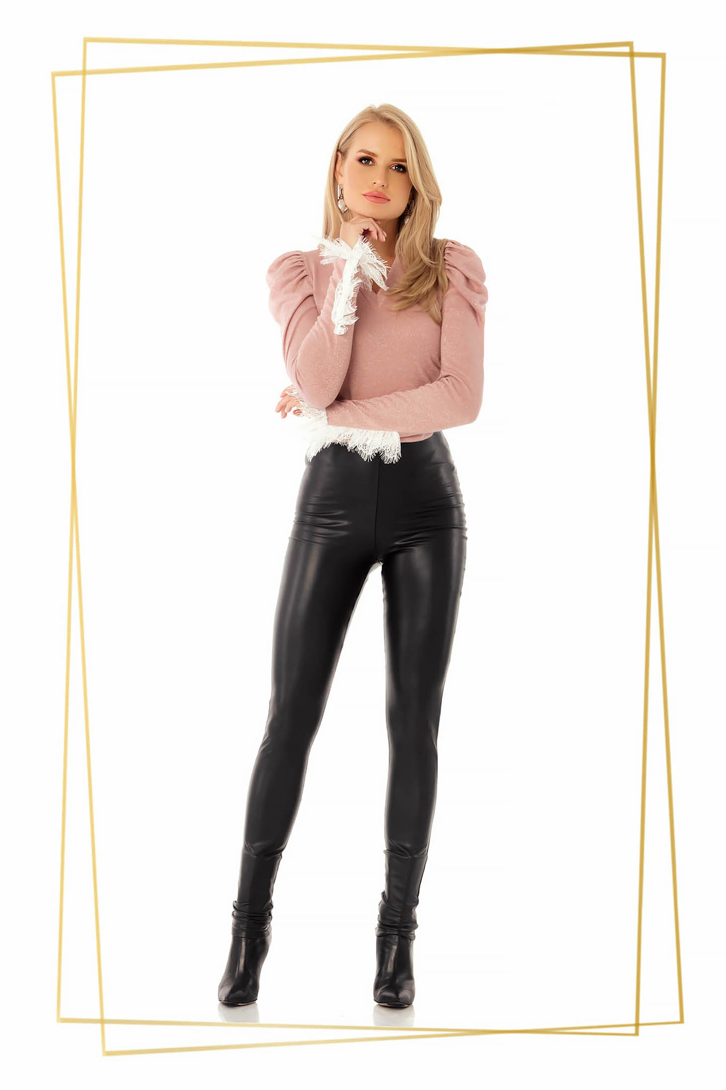 Black tights from ecological leather elastic waist high waisted