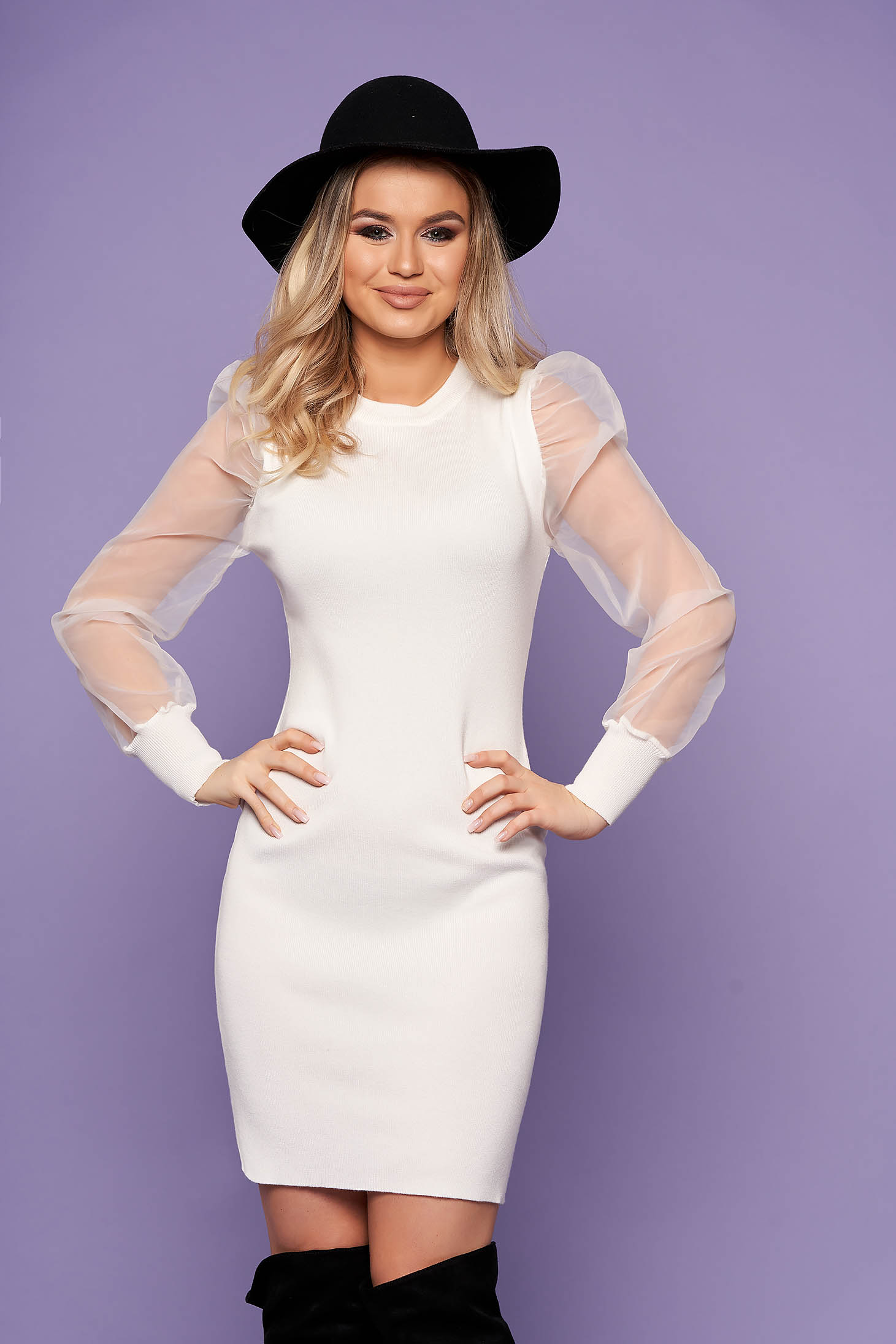 White dress elegant pencil transparent sleeves knitted long sleeved neckline