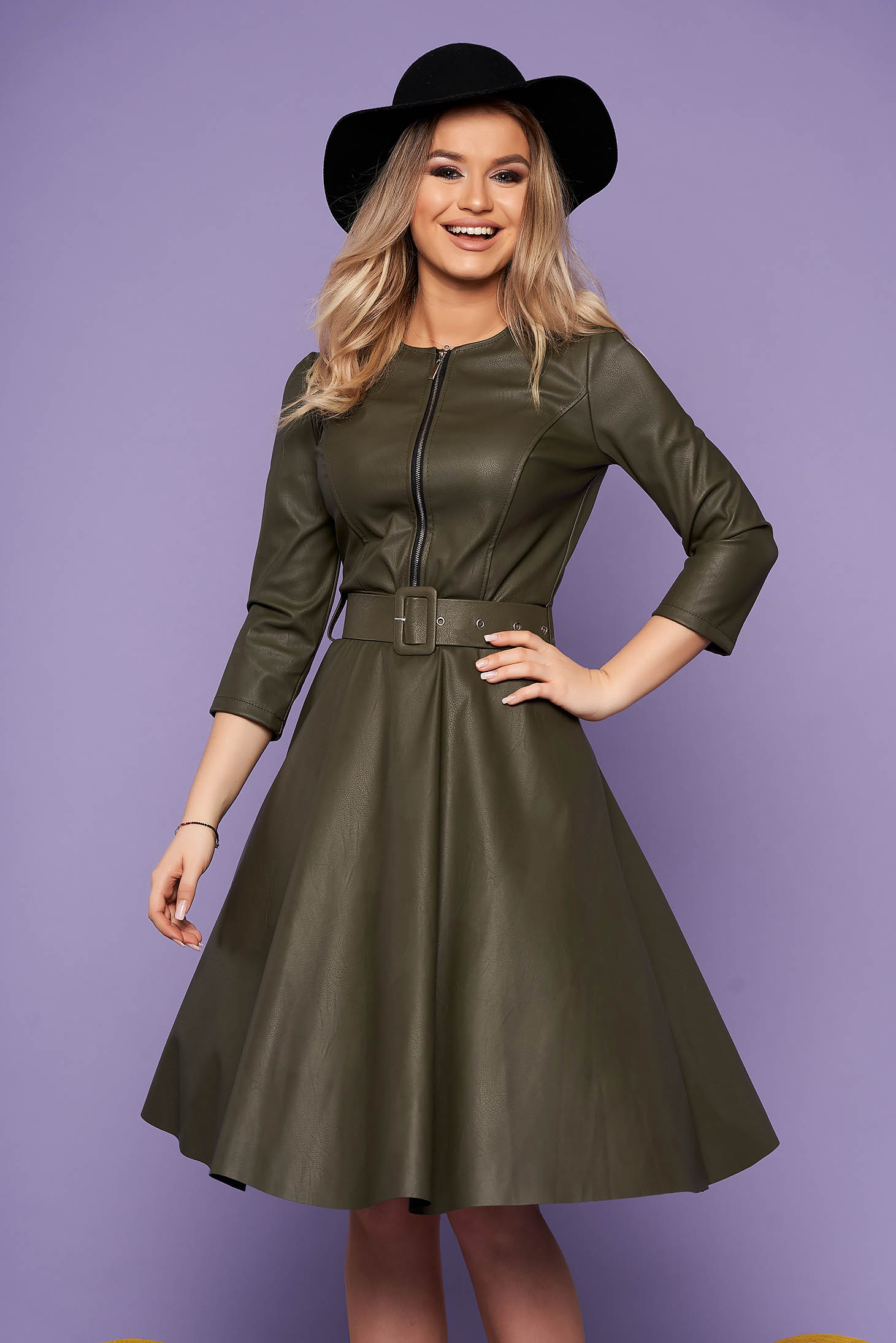 Khaki daily dress flaring cut ecological leather accessorized with belt