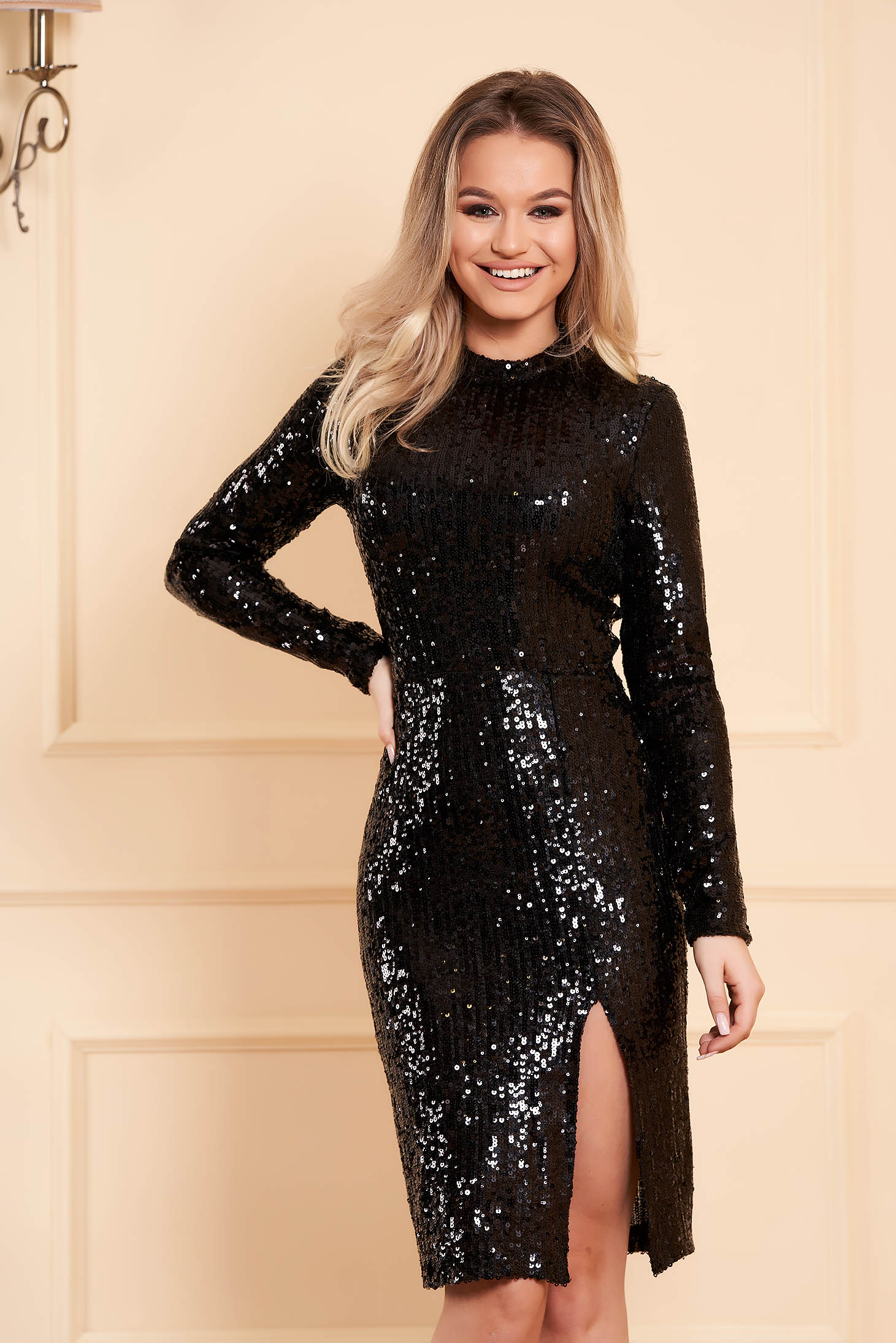 StarShinerS black dress occasional short cut pencil with sequins long sleeved with turtle neck