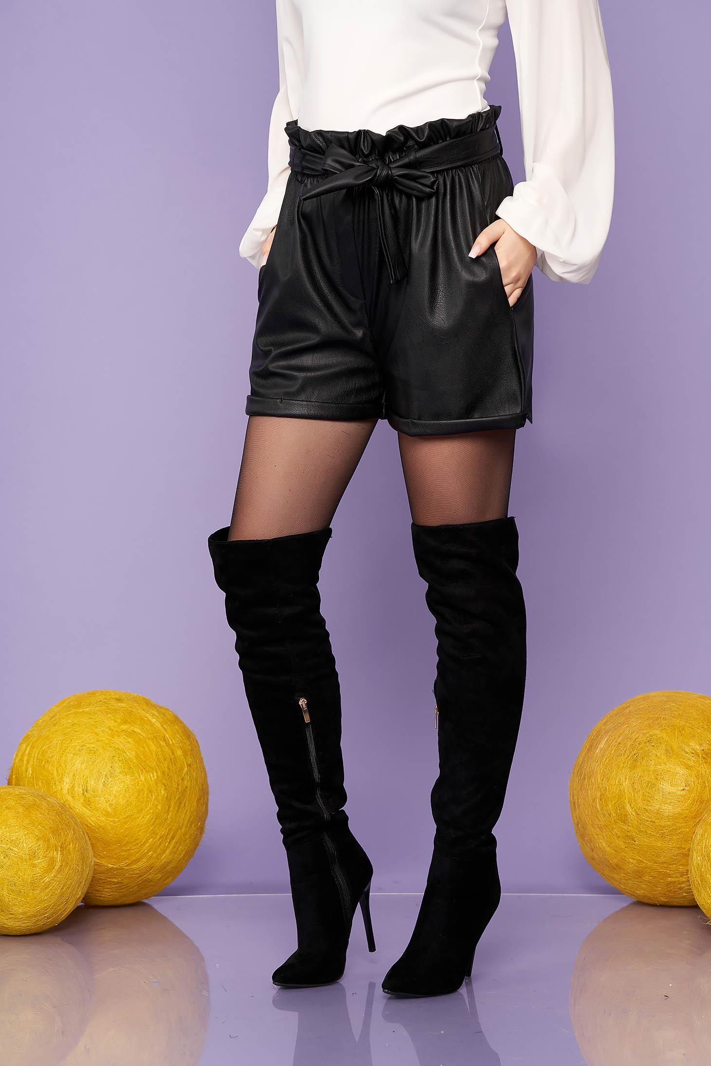 Pantalon scurt SunShine negru casual din piele ecologica cu talie inalta si buzunare
