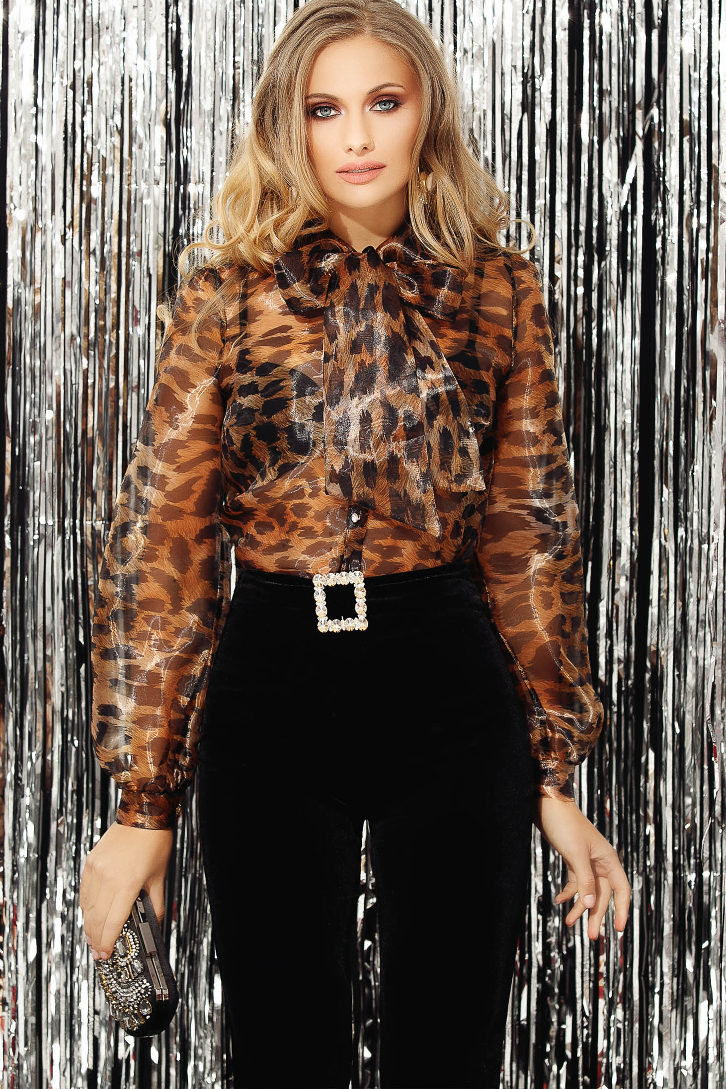 Brown women`s blouse occasional transparent sleeves long sleeved short cut animal print organza with bow