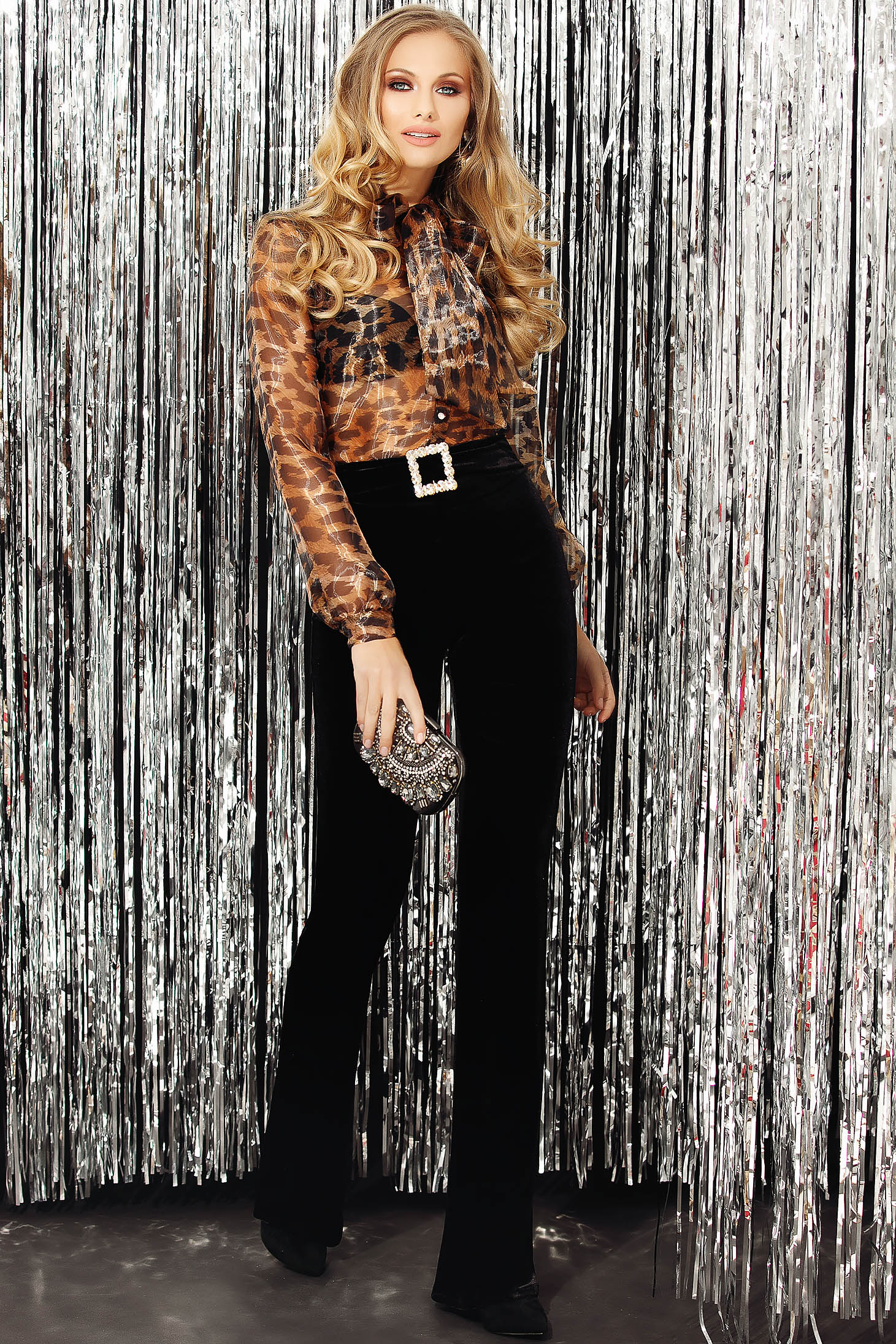 Black trousers occasional long flared velvet buckle accessory