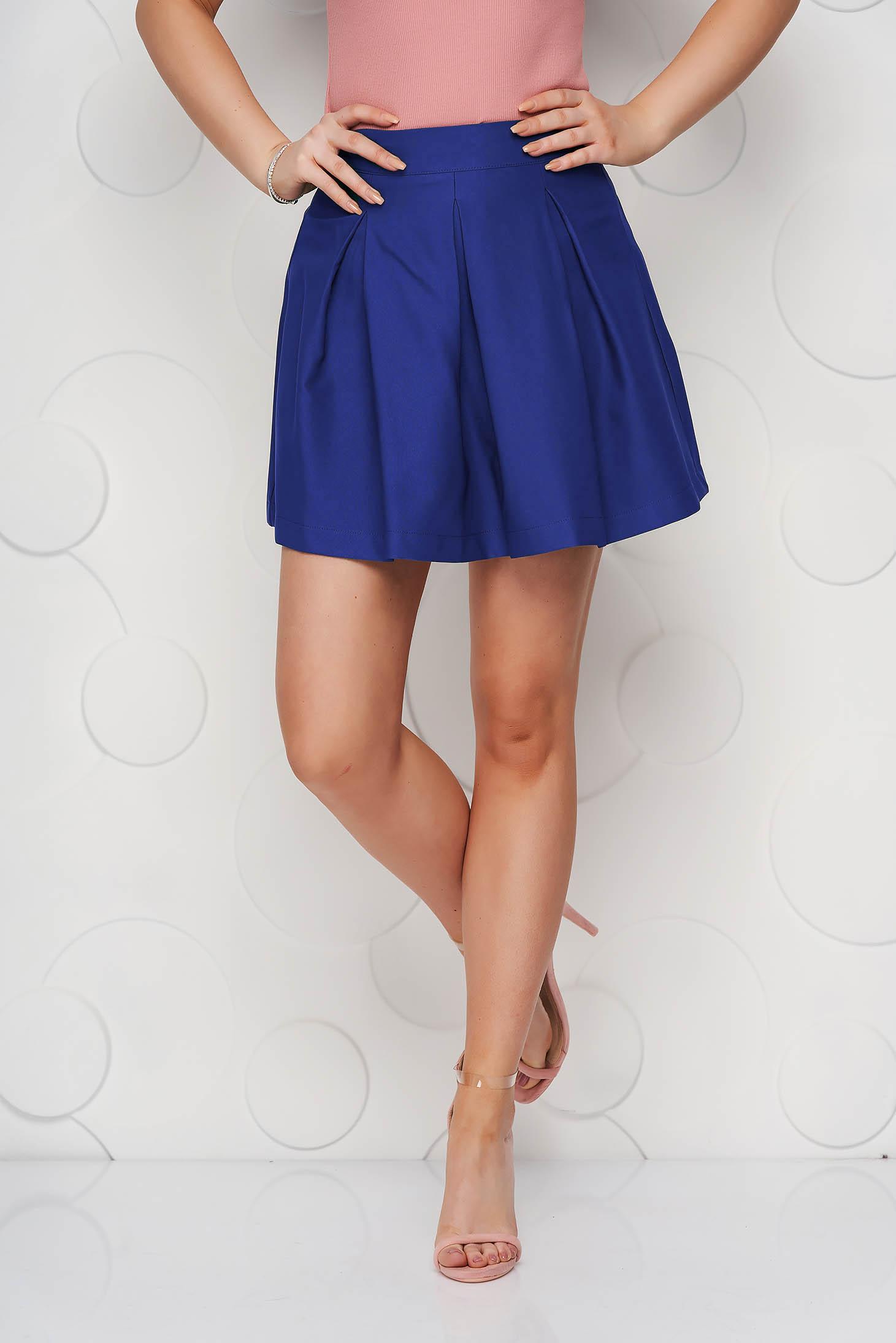 Blue casual cloche skirt slightly elastic fabric medium waist