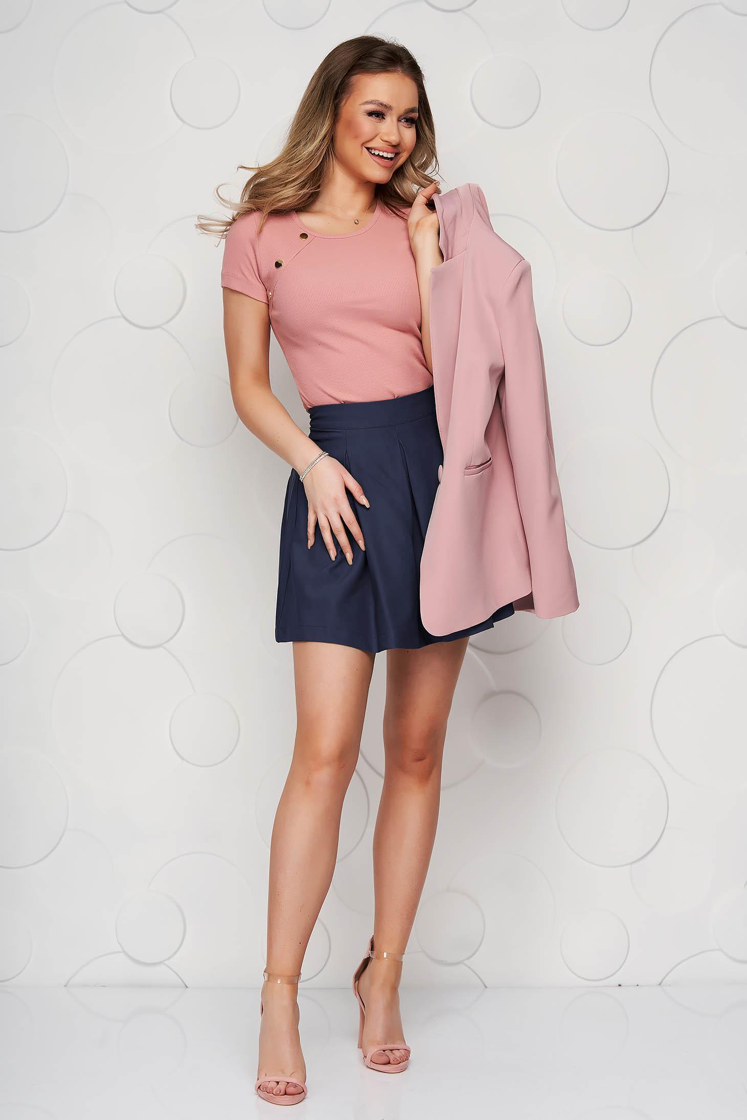 Darkblue casual cloche skirt slightly elastic fabric medium waist