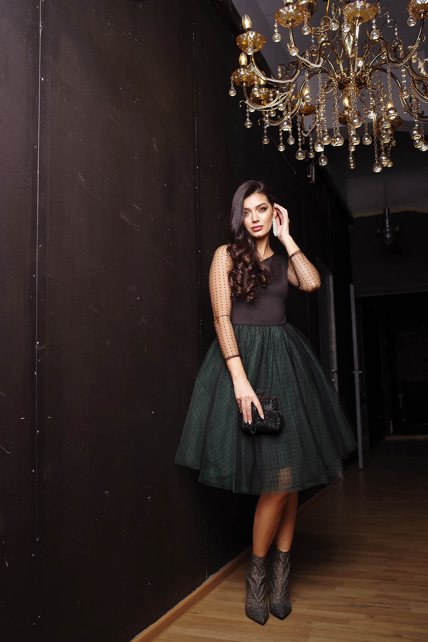 Dress green occasional cloche long sleeve from tulle