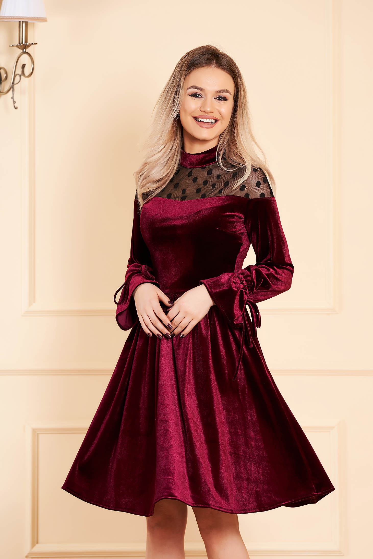 Dress burgundy midi occasional with net accessory from velvet long sleeved cloche