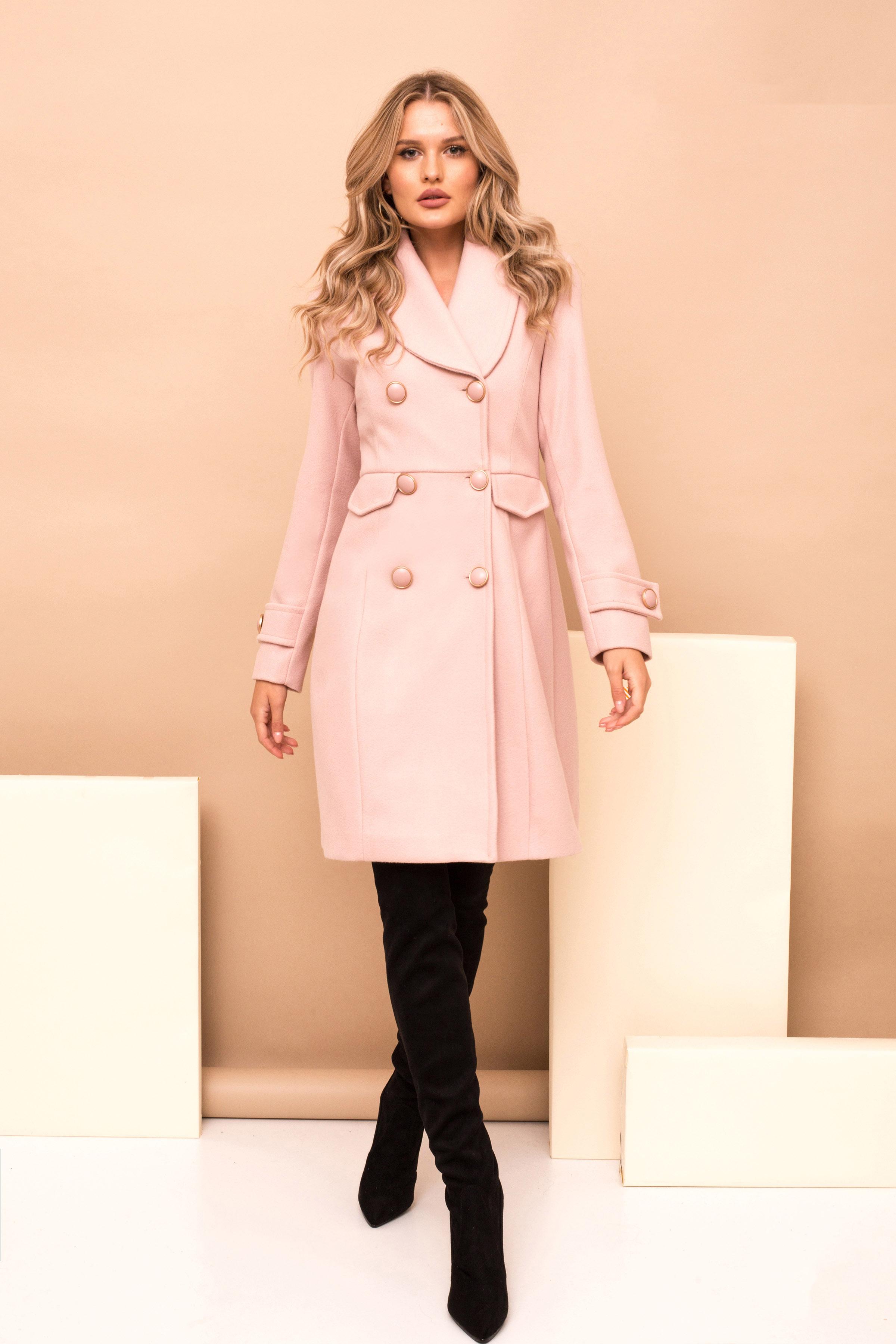 Palton PrettyGirl roz prafuit cu un croi drept casual din stofa captusit pe interior