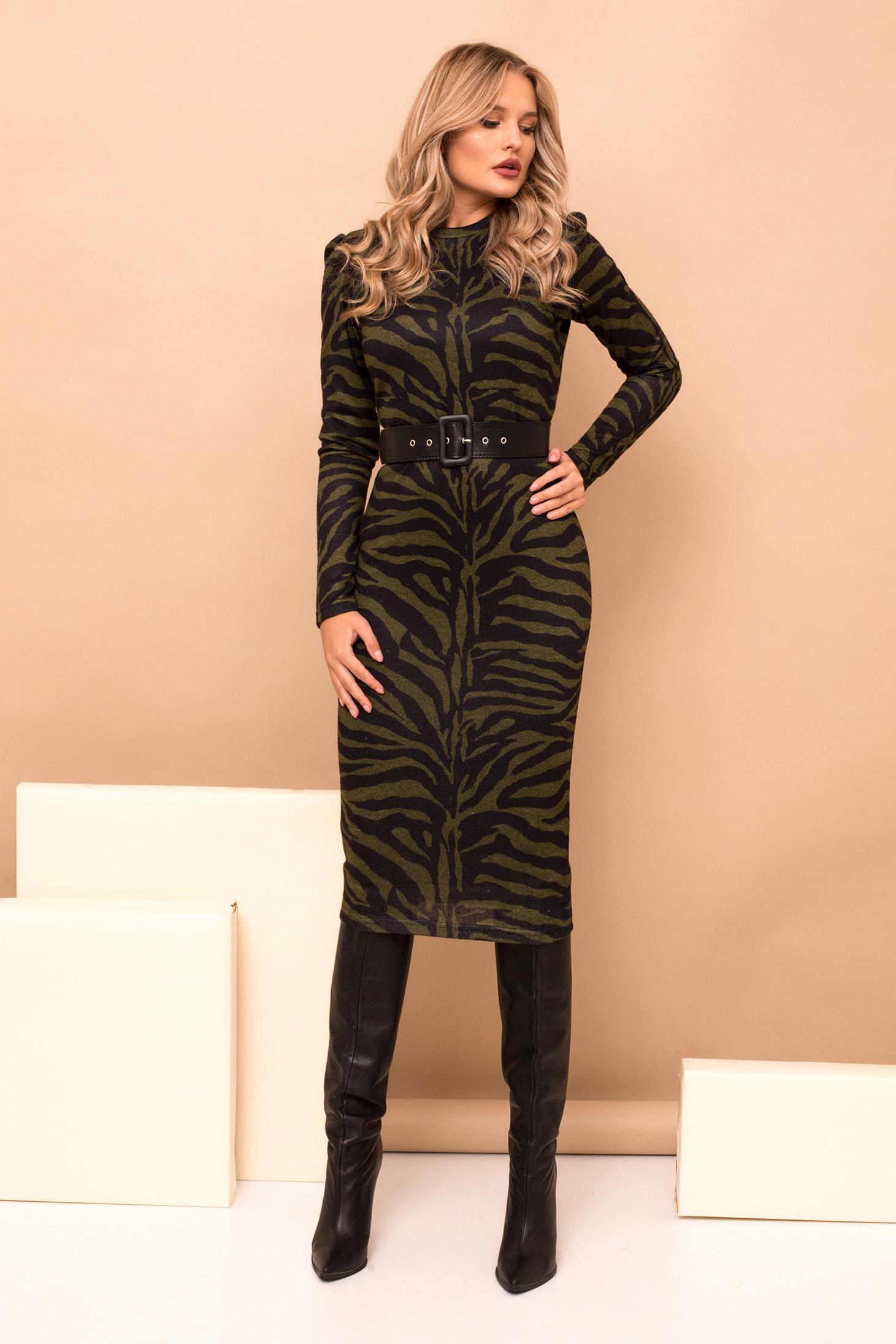 Dress khaki pencil midi elegant knitted fabric tiger print accessorized with belt