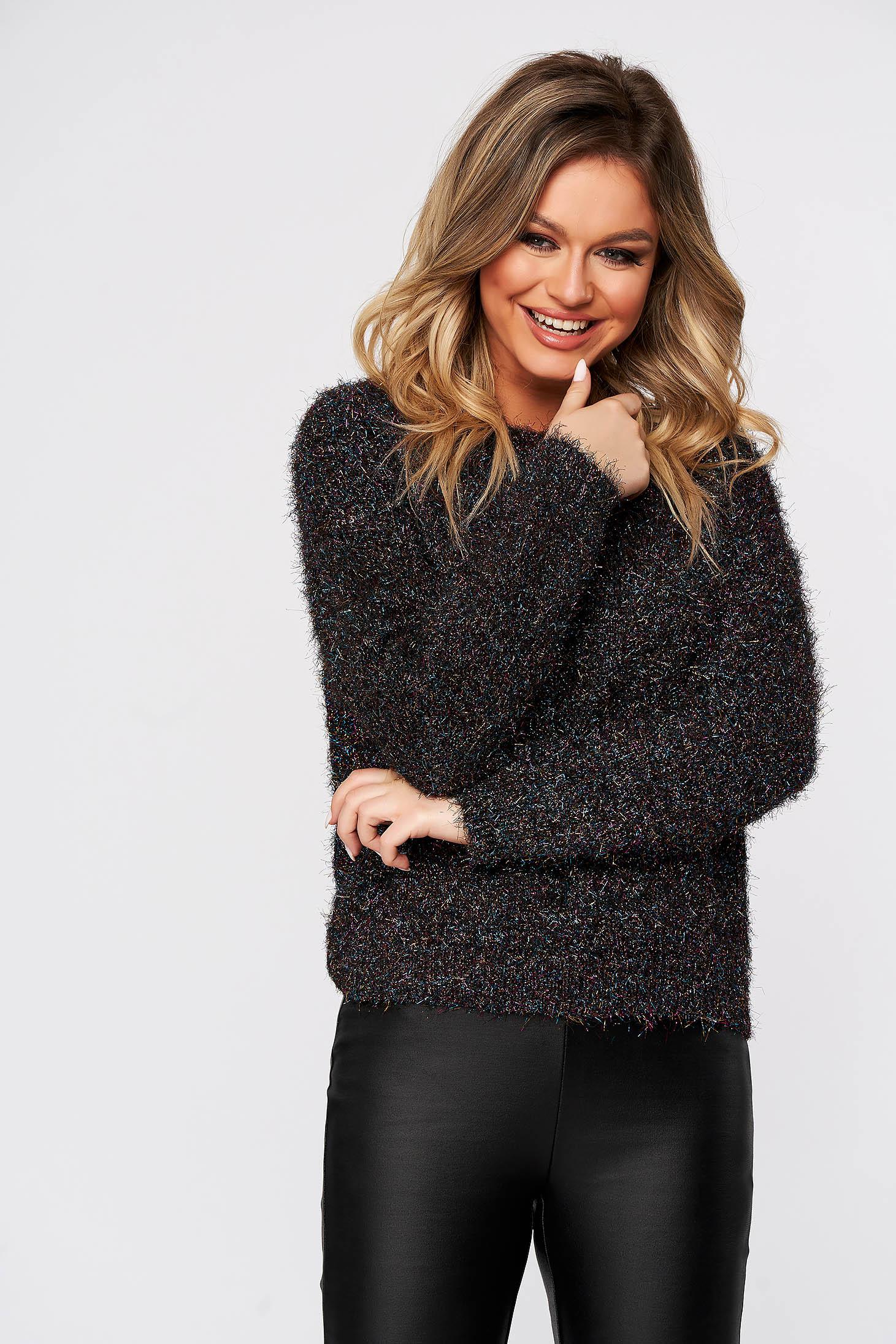 Fekete casual bő szabású pulóver kötött anyagból csillogó szállal