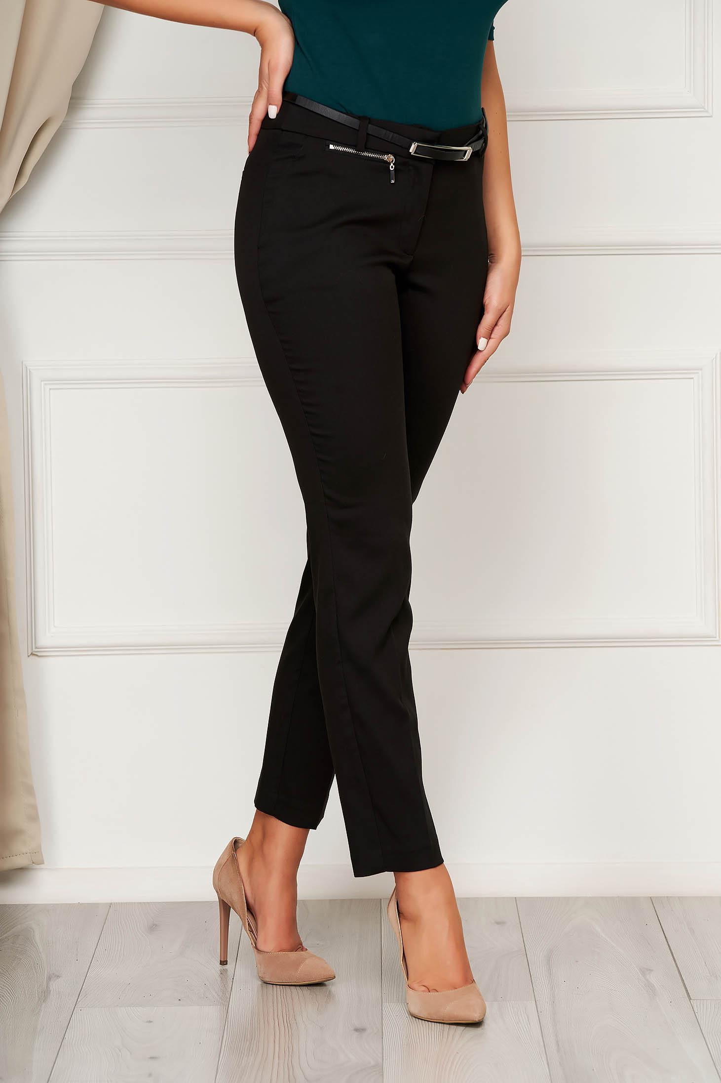 Pantaloni Top Secret negri casual din material subtire conici accesorizati cu fermoar