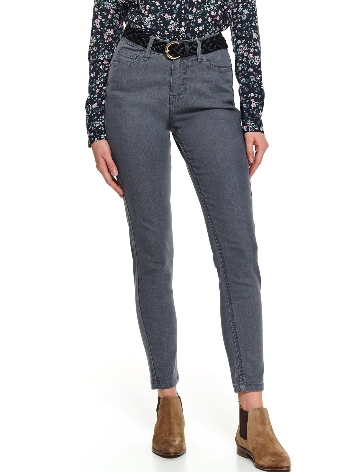 Grey trousers casual conical denim with pockets