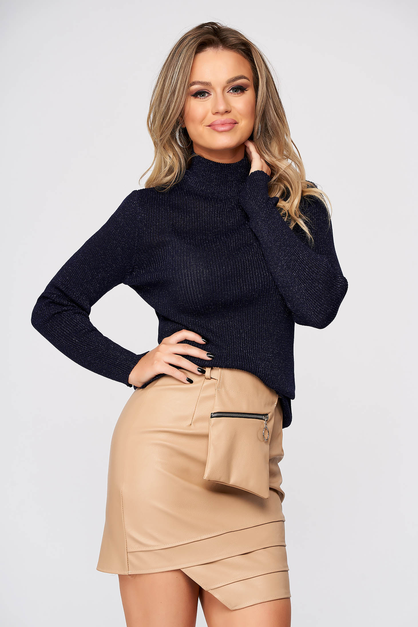 Darkblue sweater casual with turtle neck knitted with lame thread