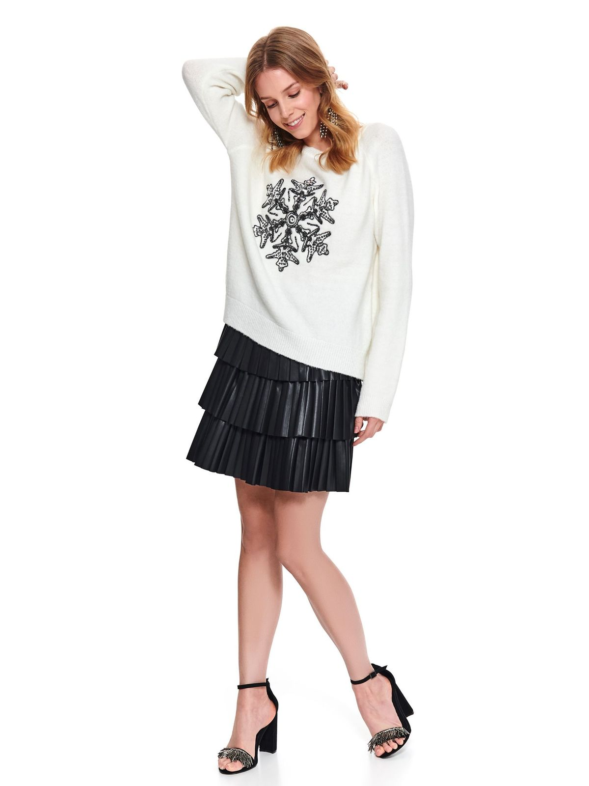 White sweater casual flared with sequin embellished details knitted fabric