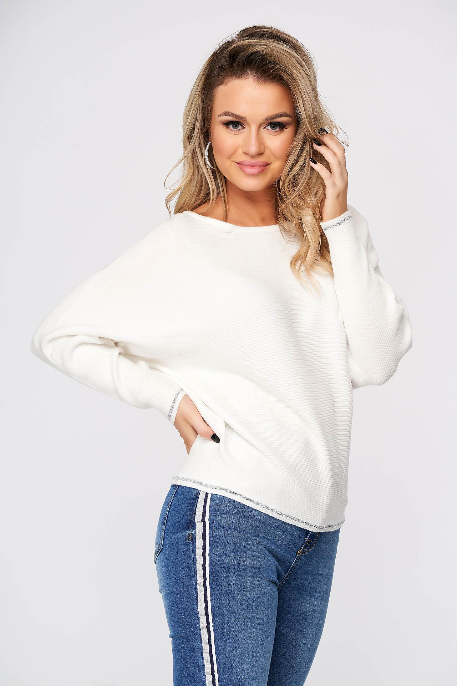 Pulover Top Secret alb casual tricotat cu croi larg si guler barcuta