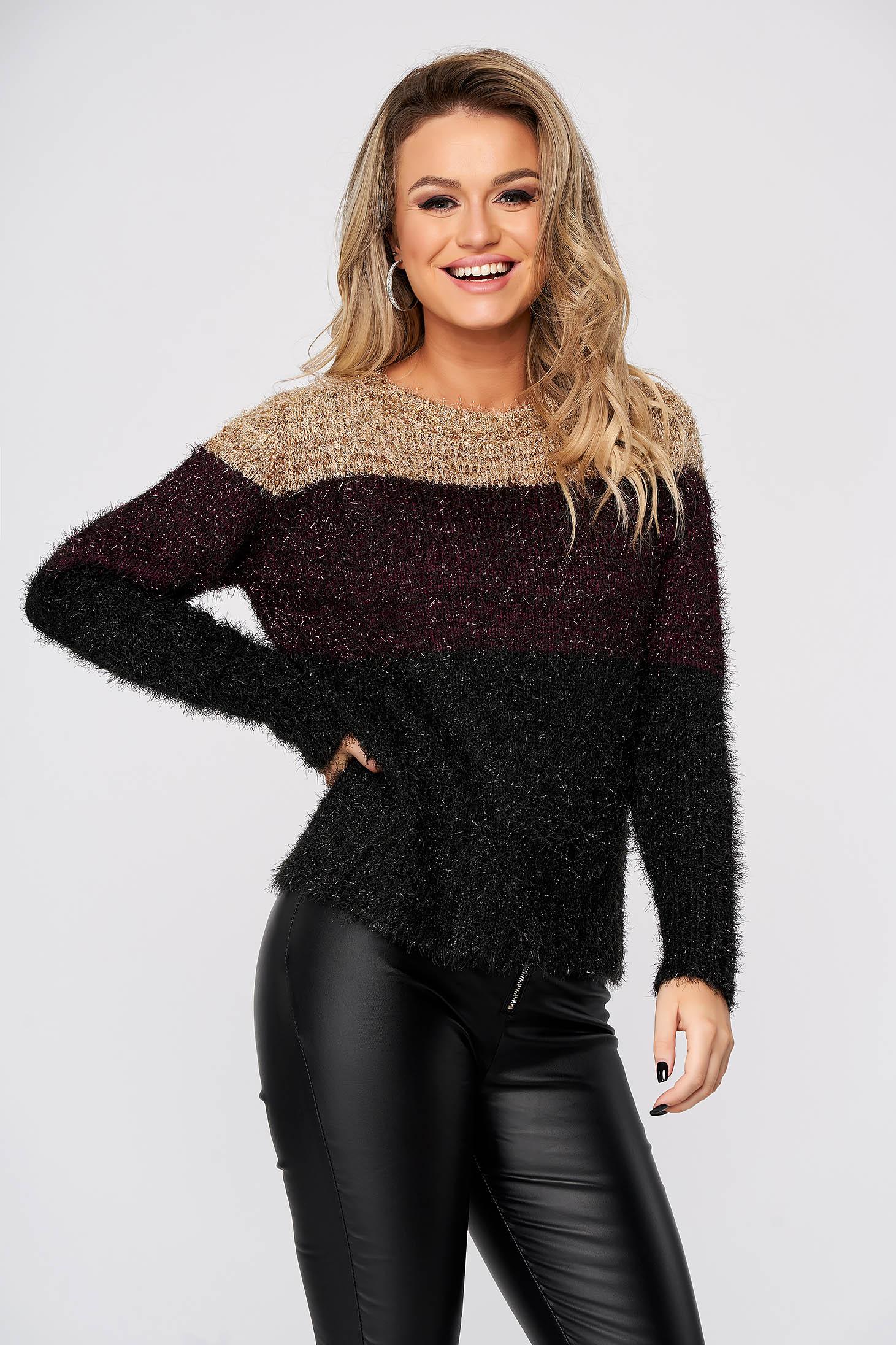 Pulover Top Secret negru casual tricotat cu croi larg din material pufos