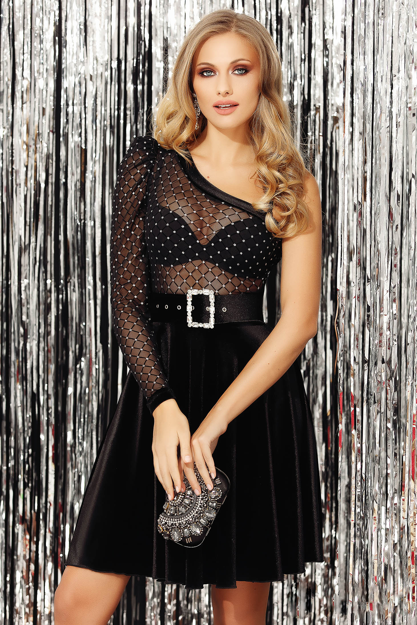 Silver asymmetrical sleeves body occasional super soft skin strass net stockings