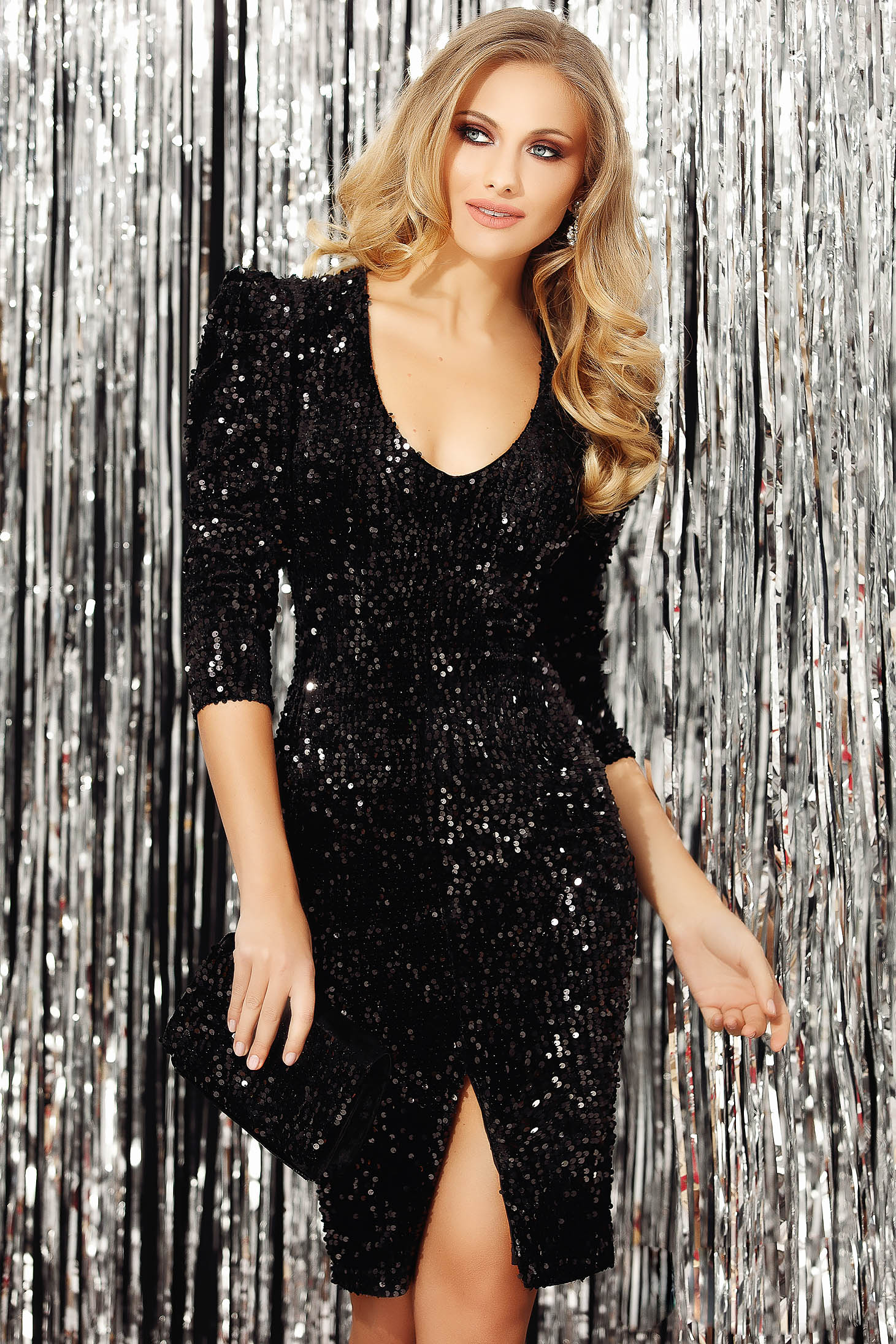 Black dress with sequins occasional slit with v-neckline with 3/4 sleeves