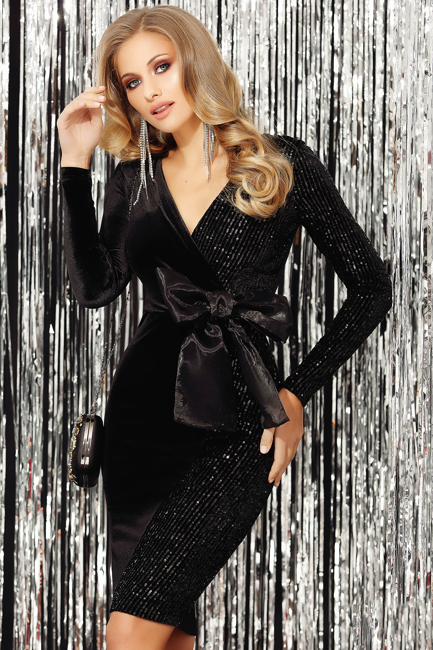 Black dress velvet with sequins occasional pencil with bow wrap over front