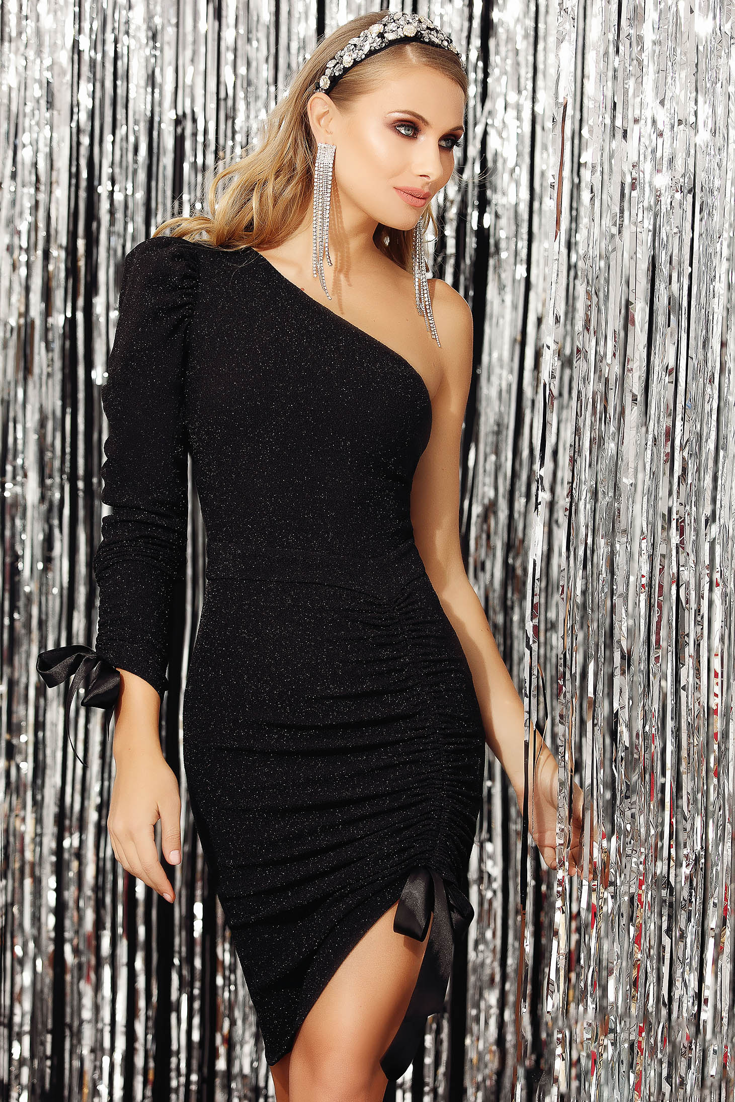 Black dress occasional pencil asymmetrical sleeveless with glitter details