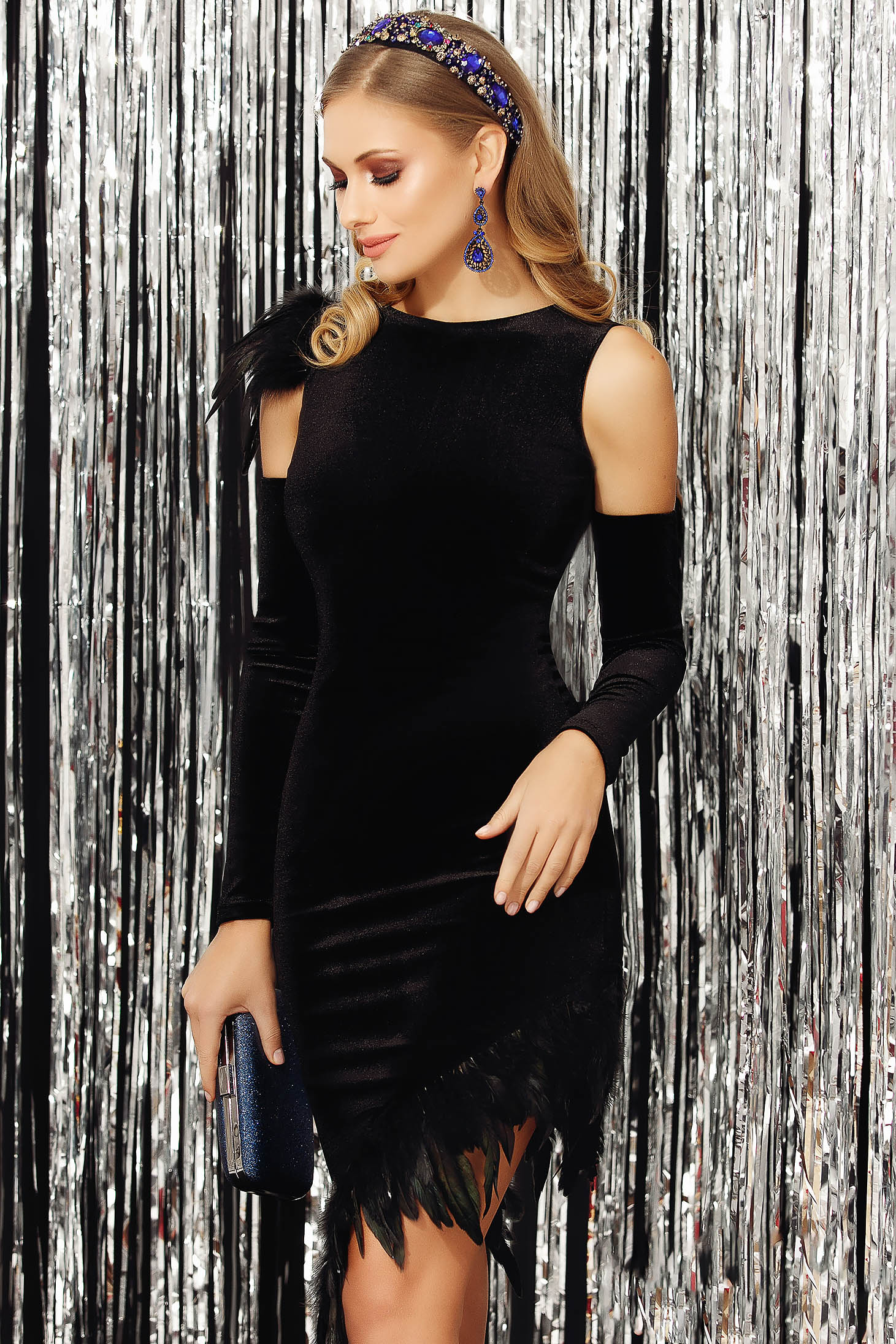 Dress black occasional from velvet arched cut asymmetrical both shoulders cut out feather details