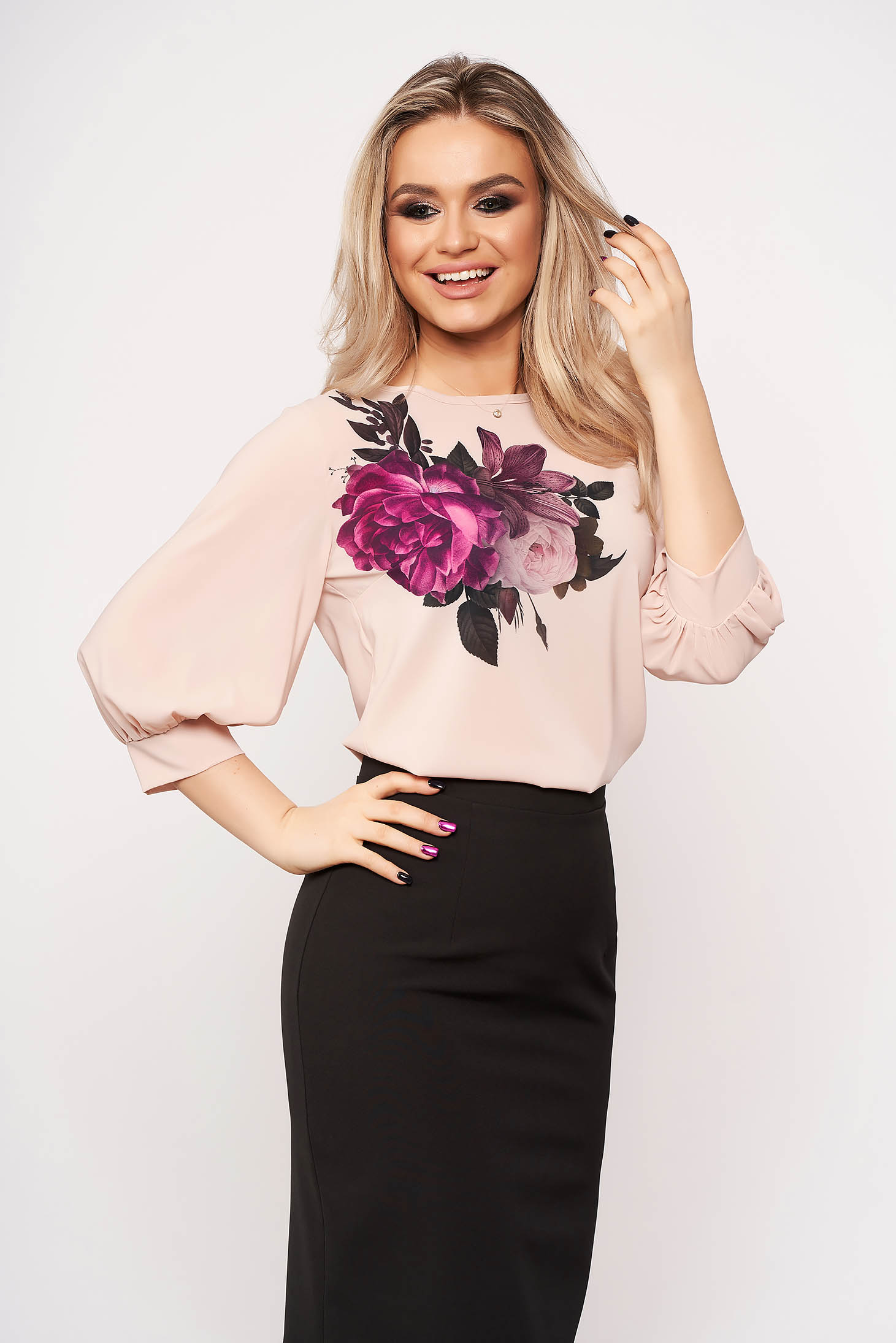 StarShinerS lightpink women`s blouse casual elegant with floral prints with 3/4 sleeves neckline