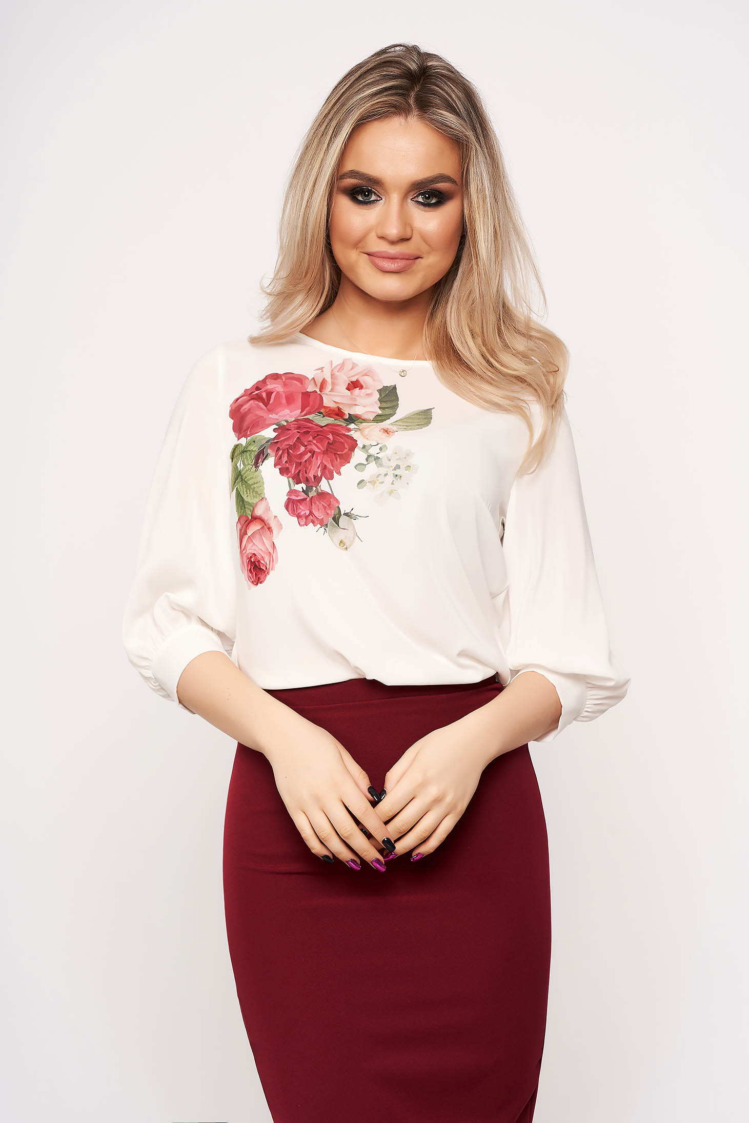 StarShinerS white women`s blouse casual elegant with veil sleeves with 3/4 sleeves with floral print