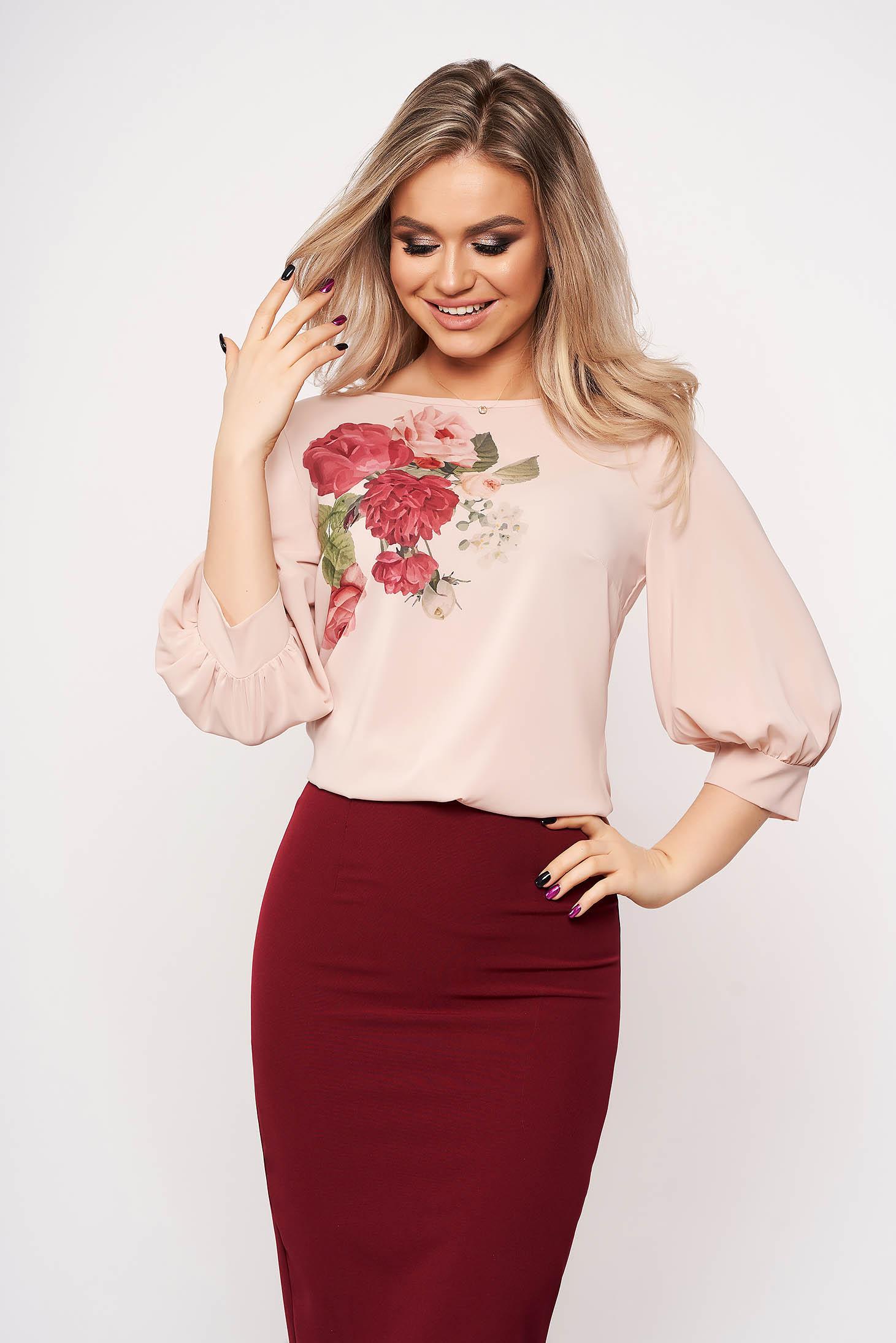 Bluza dama StarShinerS roz prafuit casual eleganta cu print custom-made si maneci trei-sferturi din voal