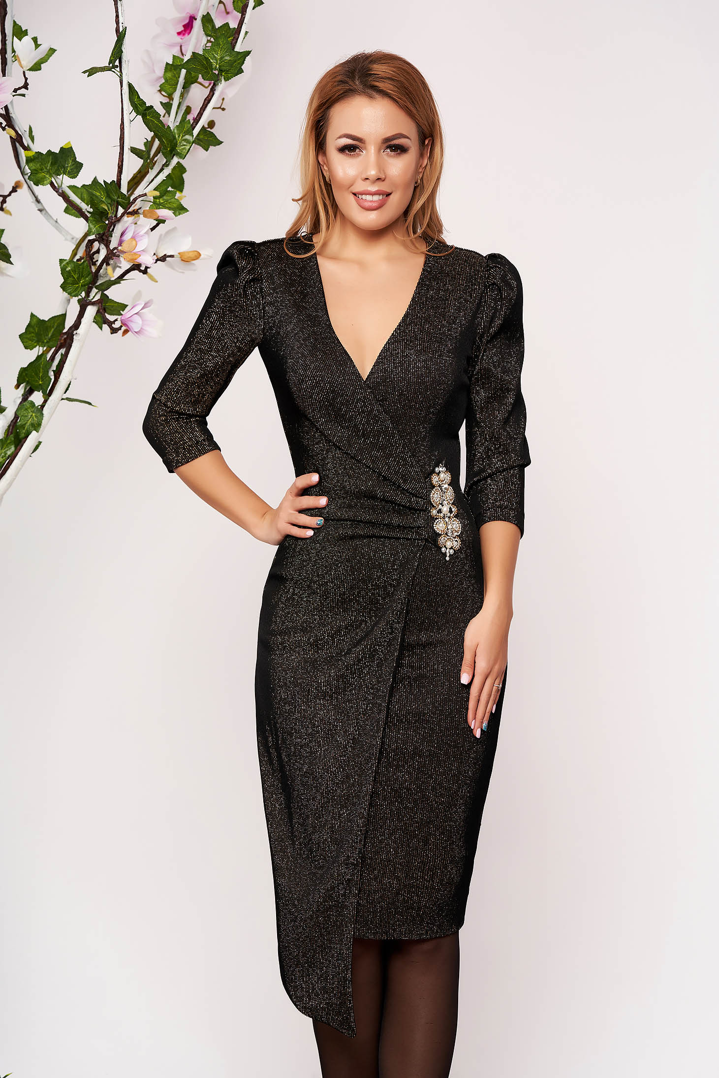StarShinerS black dress occasional short cut knitted with embellished accessories wrap over front