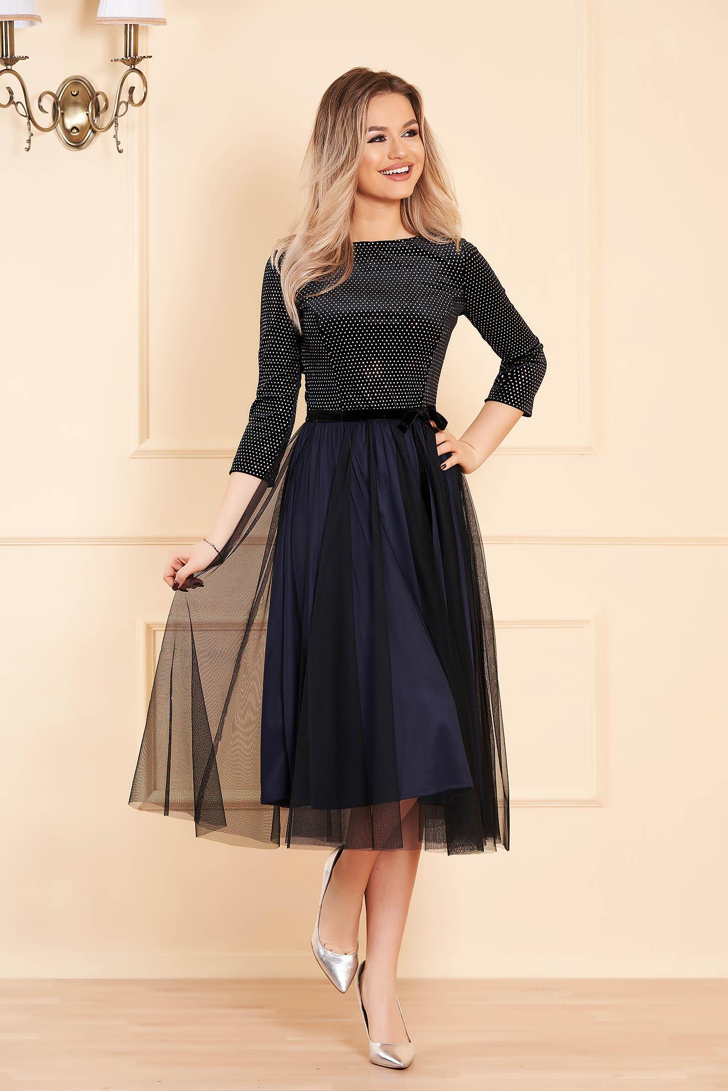 Dress StarShinerS black occasional 3/4 sleeve velvet from tulle flaring cut