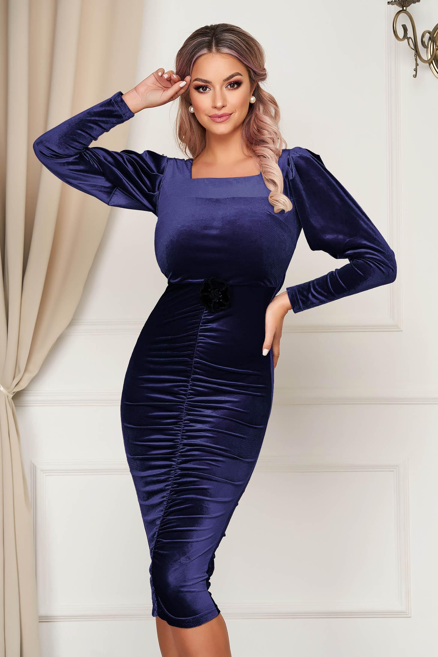 Darkblue dress from velvet long sleeved occasional pencil flower shaped accessory