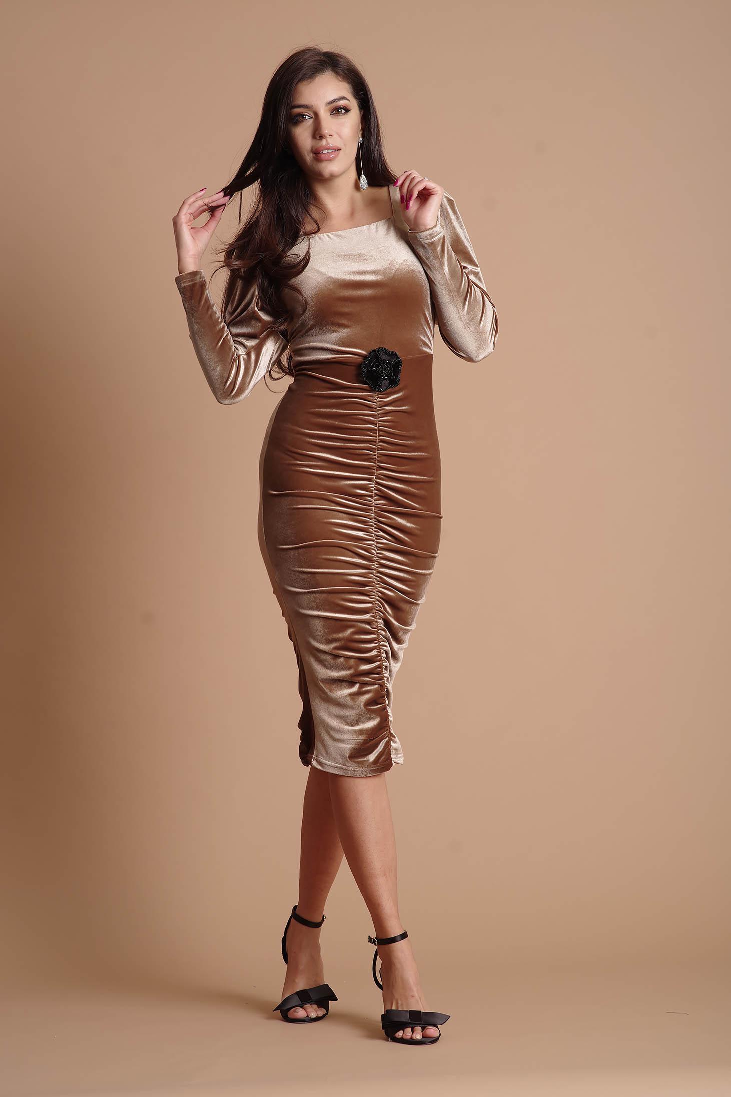 Cream dress from velvet long sleeved occasional pencil flower shaped accessory