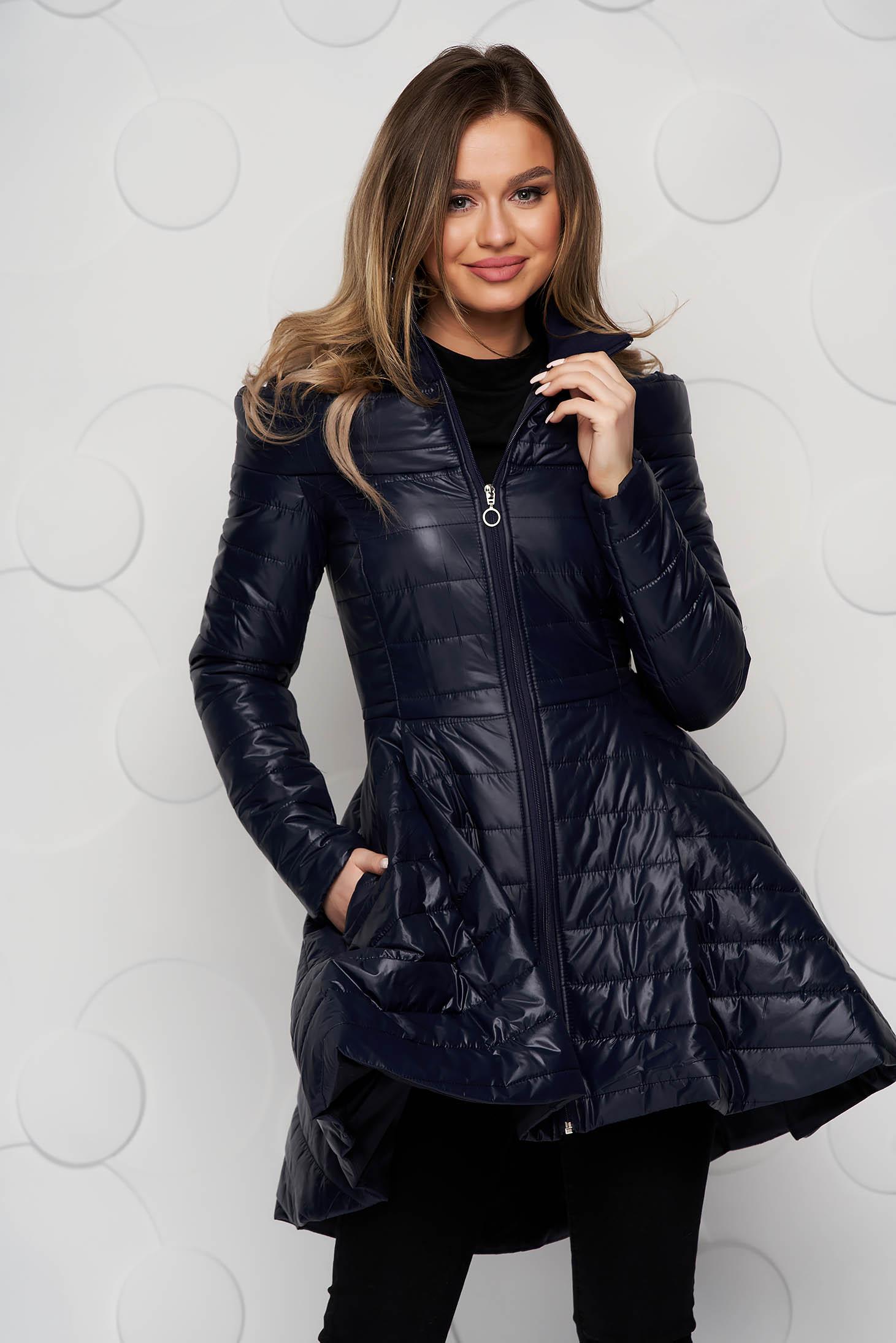 Darkblue jacket casual midi from slicker asymmetrical flaring cut zipper fastening