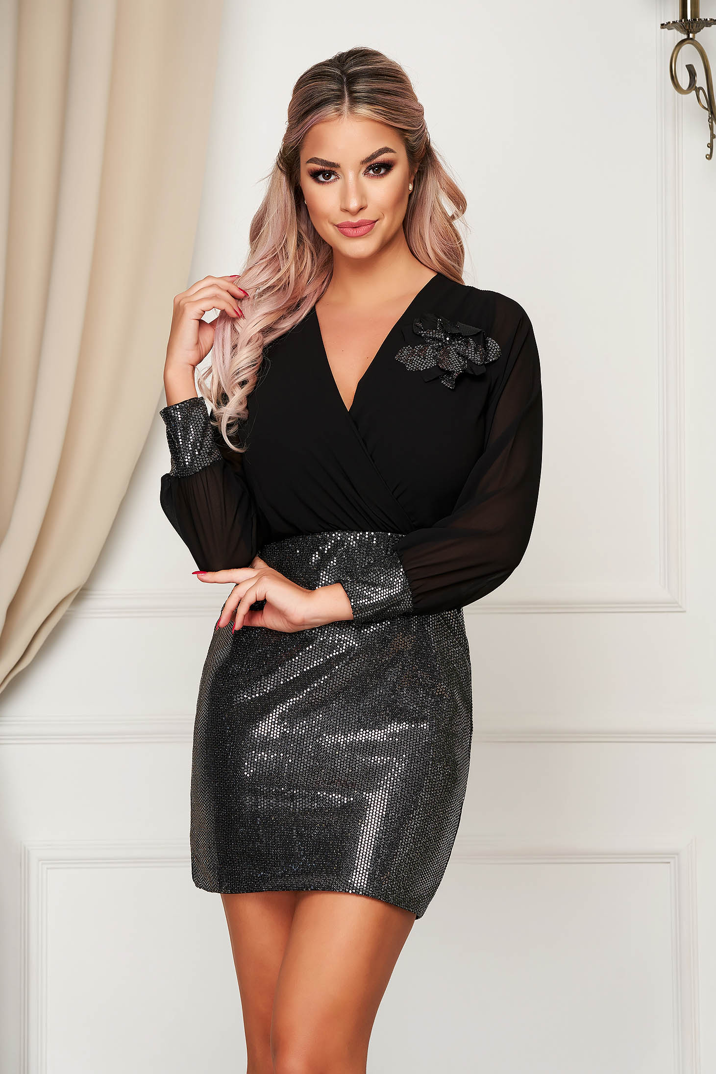 Dress silver short cut occasional wrap over front with sequin embellished details with v-neckline
