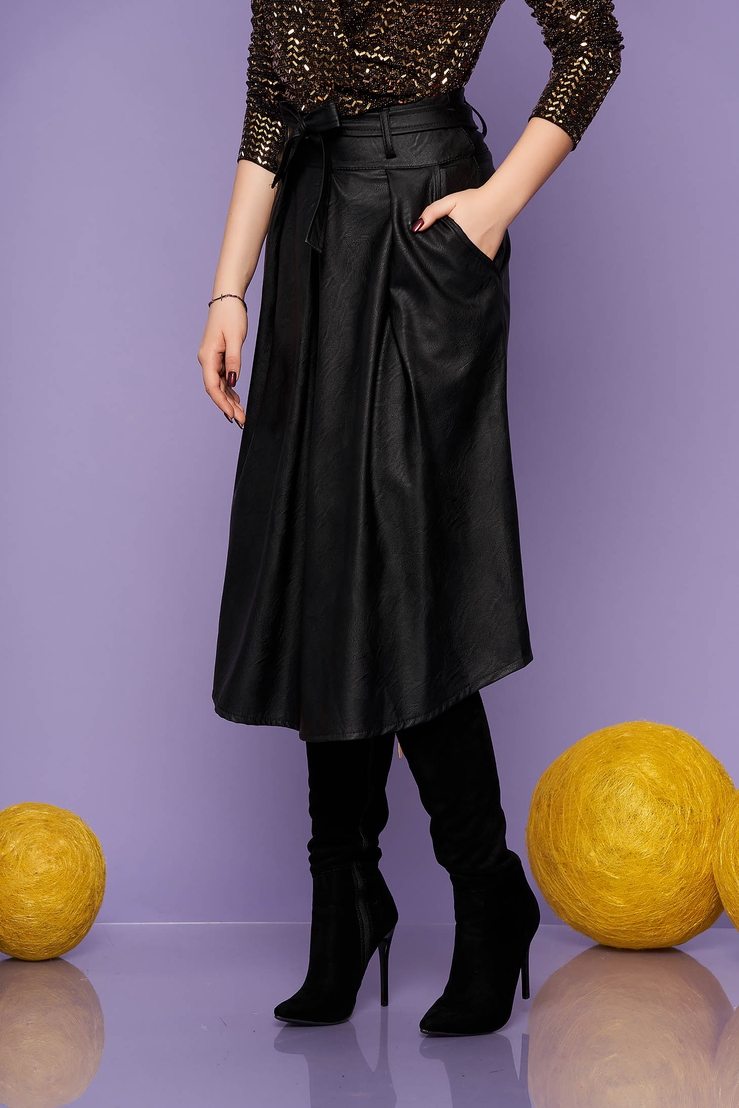Black skirt casual midi cloche with pockets from ecological leather detachable cord back zipper fastening