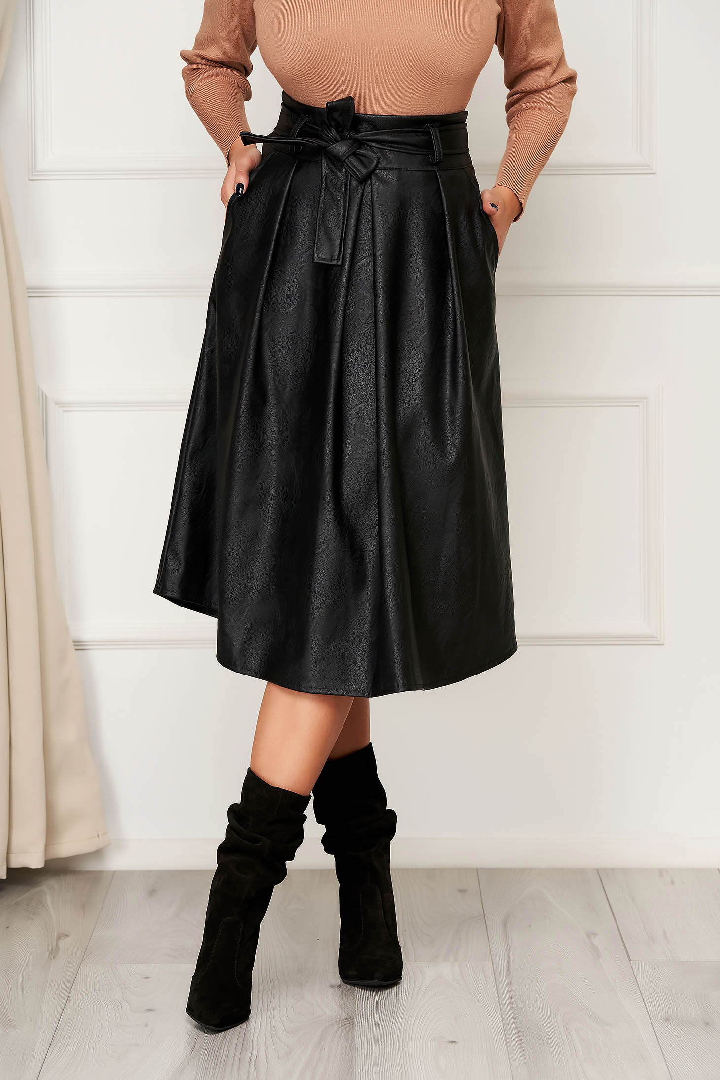 Black skirt casual midi cloche with pockets from ecological leather