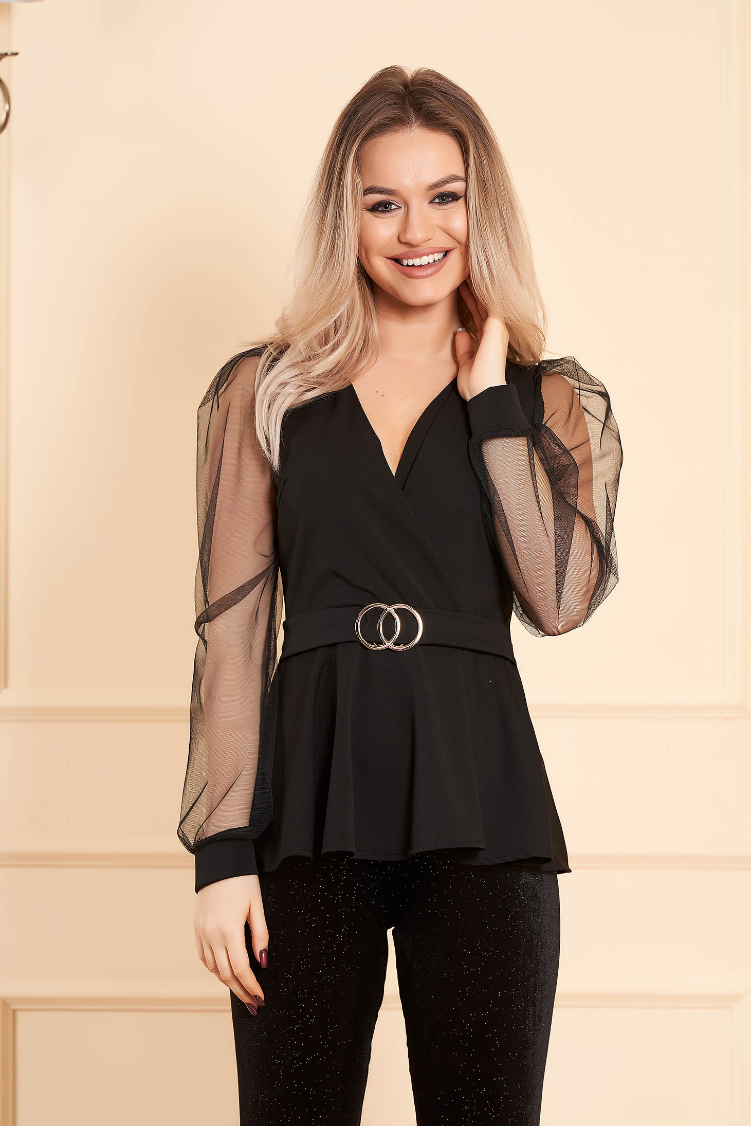 Women`s blouse black elegant wrap over front long sleeved transparent sleeves