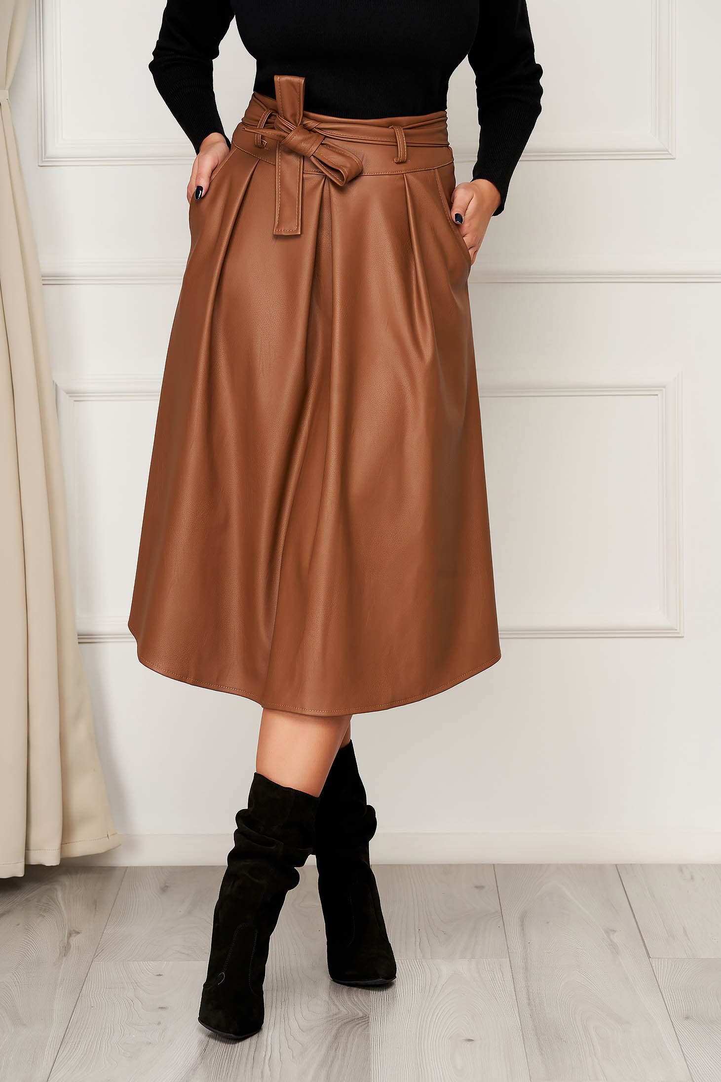 Brown skirt casual midi cloche with pockets from ecological leather
